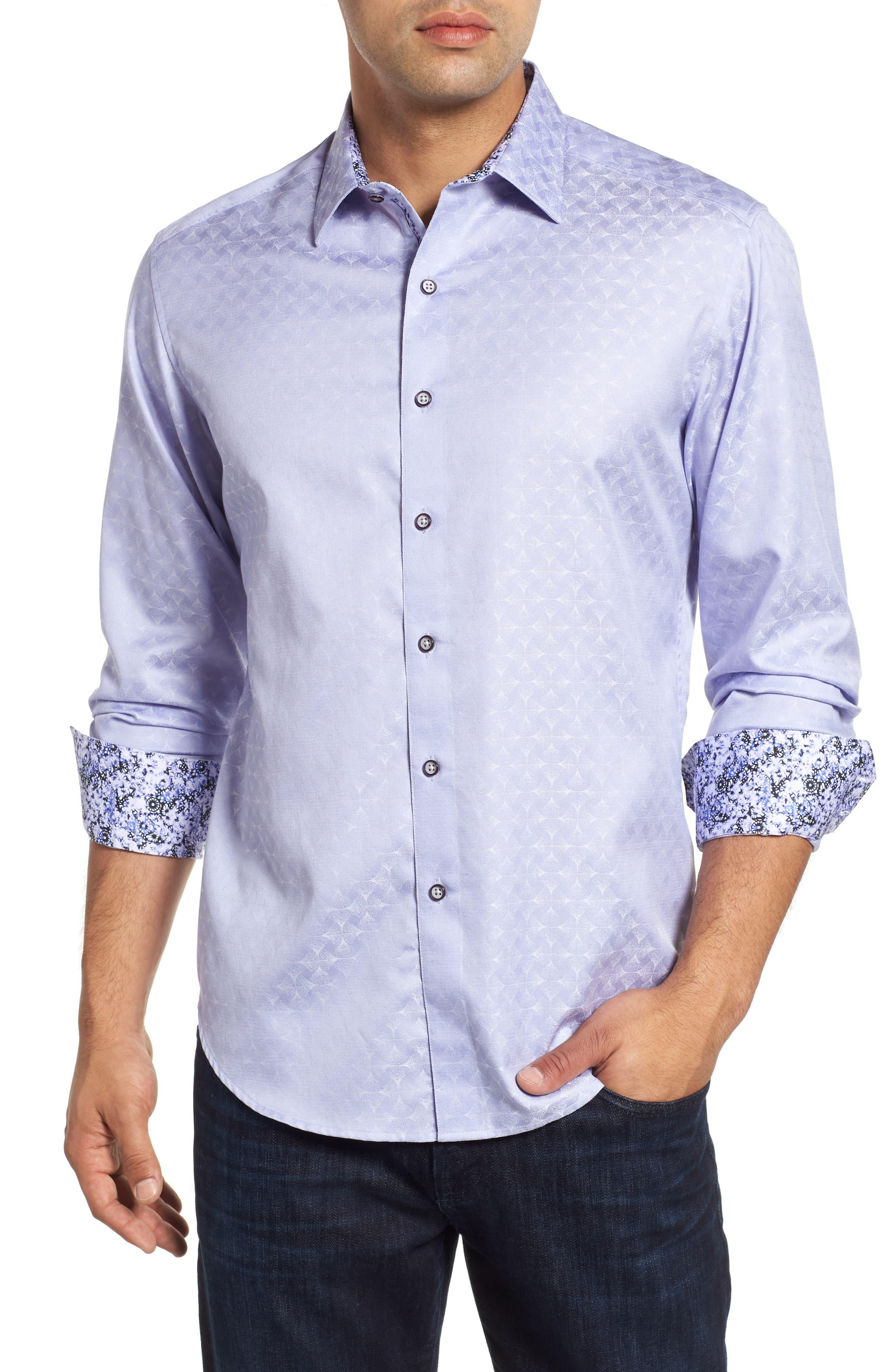 Diamante Classic Fit Print Sport Shirt,                             Main thumbnail 1, color,                             LILAC