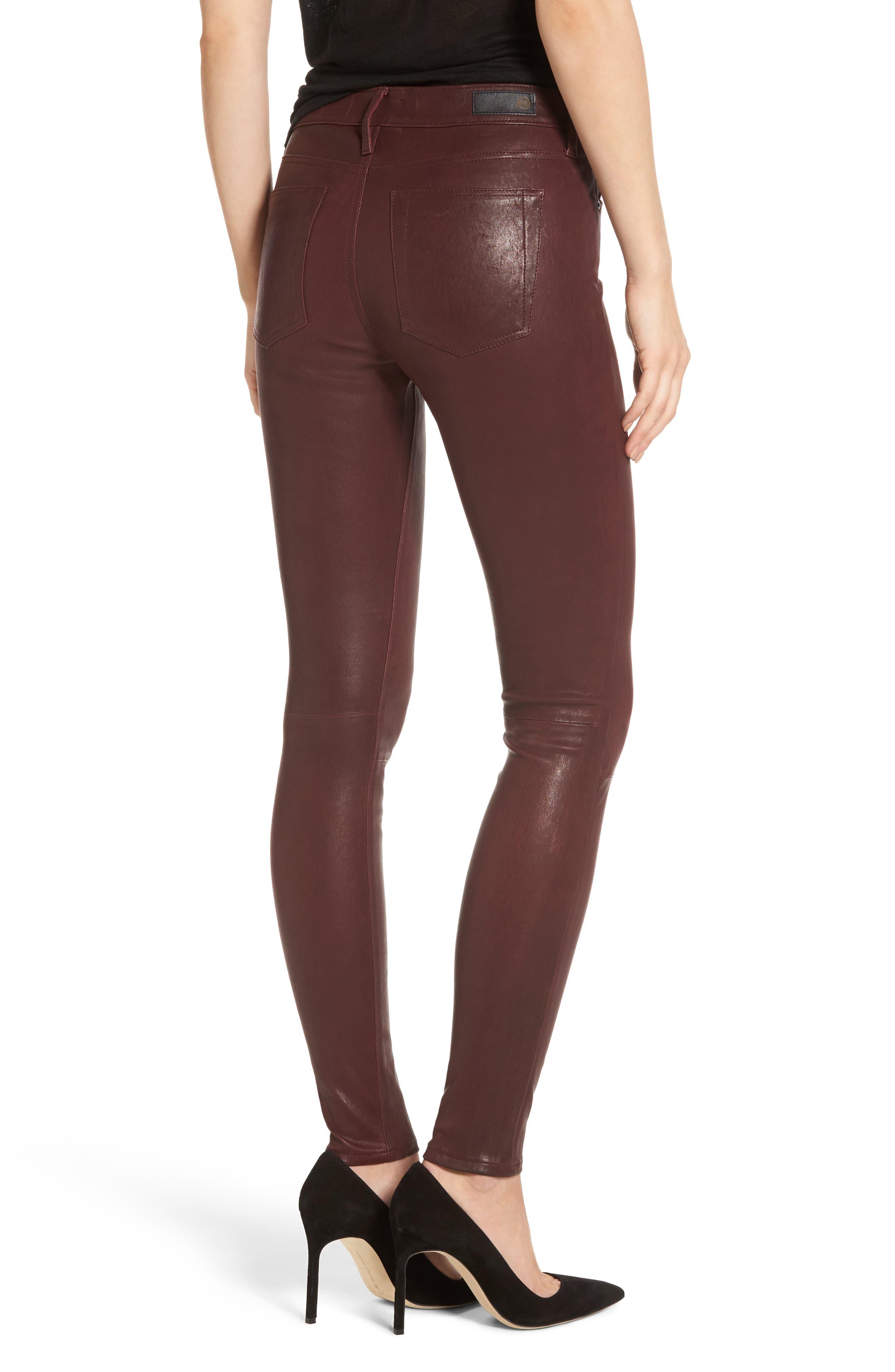 Farrah Leather Skinny Jeans,                             Alternate thumbnail 6, color,