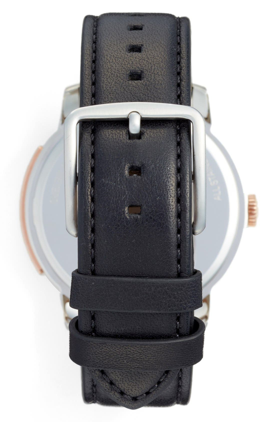 'Bleeker' Leather Strap Watch, 46mm,                             Alternate thumbnail 3, color,                             001