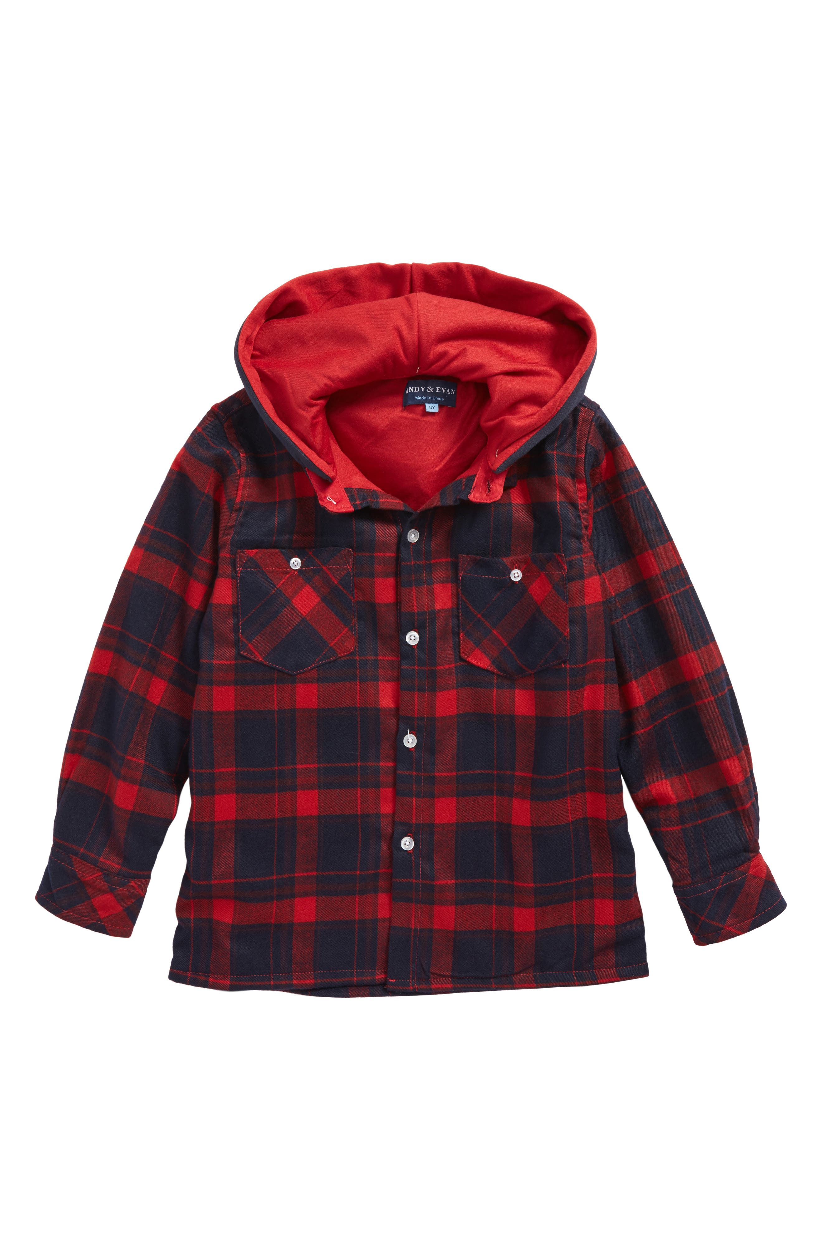 Andy & Even Hooded Flannel Shirt,                             Main thumbnail 1, color,