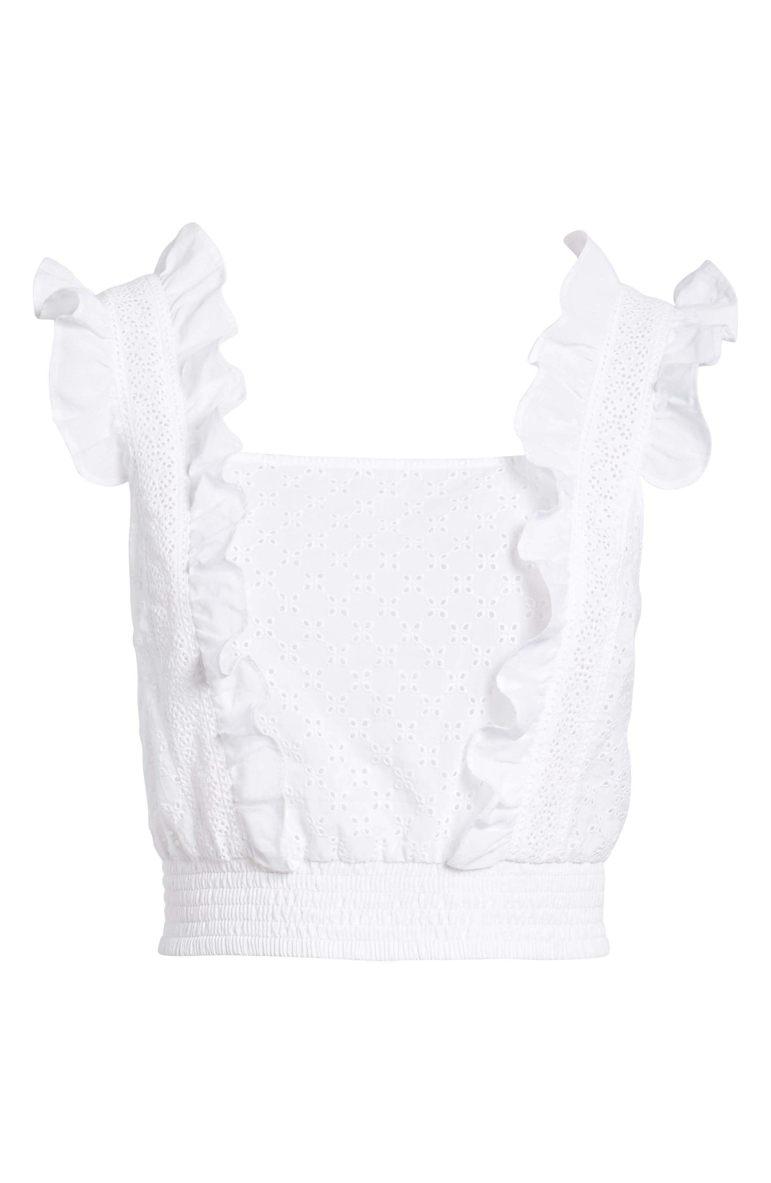 Ruffle Eyelet Crop Top,                             Alternate thumbnail 7, color,                             100