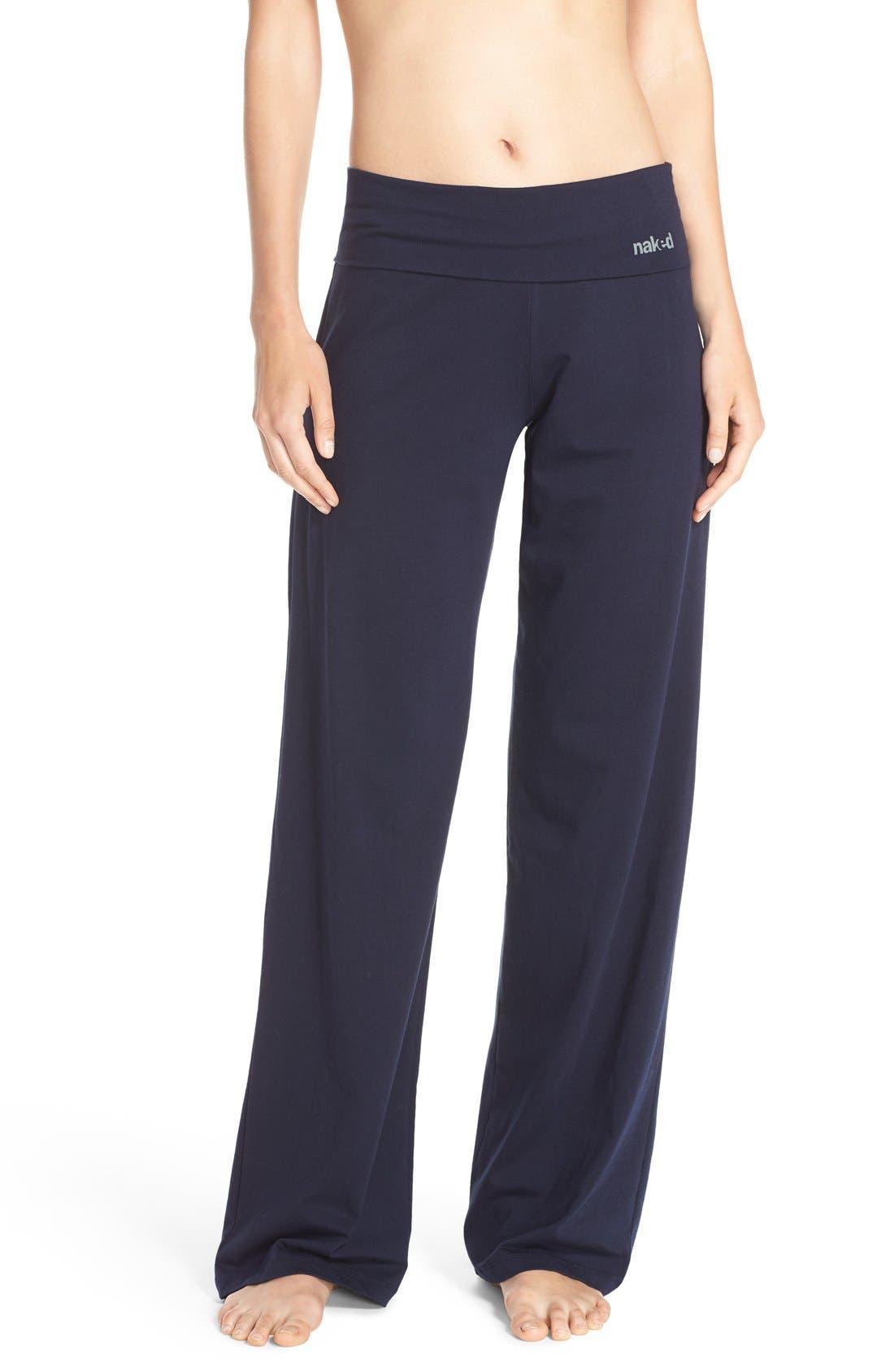 Wide Leg Stretch Cotton Pajama Pants,                         Main,                         color, PEACOAT