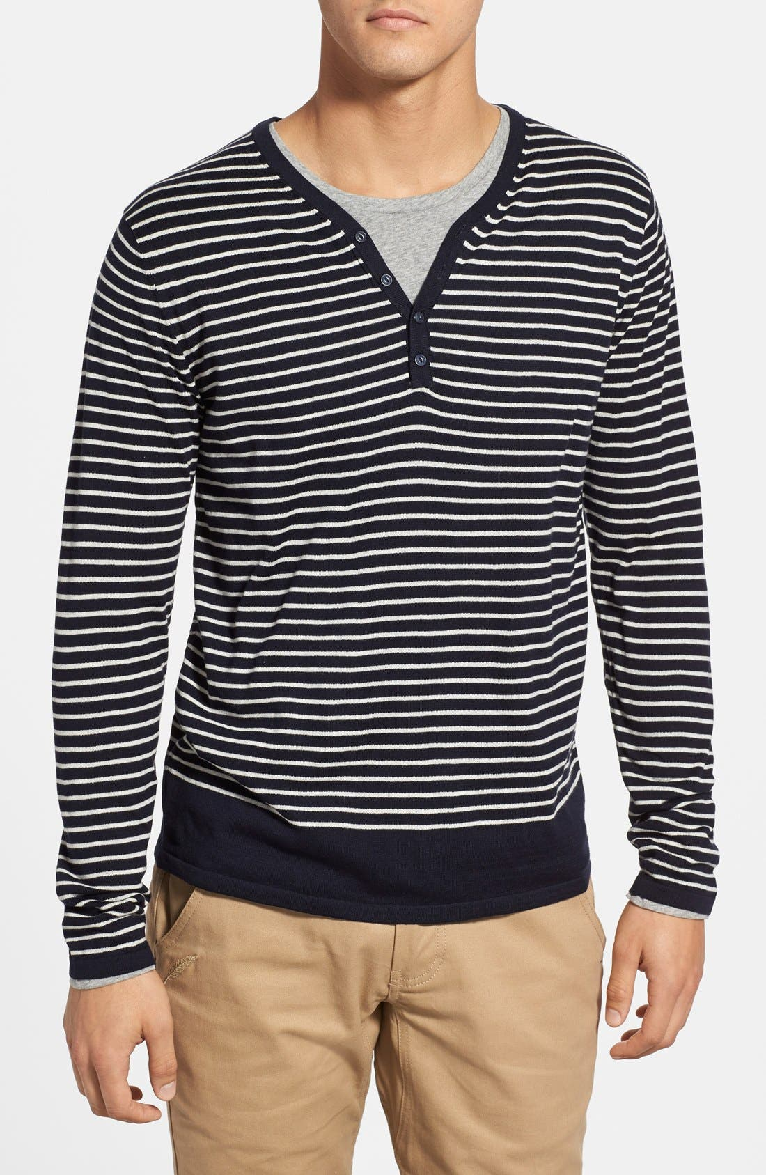 SCOTCH & SODA,                             'Granded' Stripe Henley Sweater with T-Shirt,                             Main thumbnail 1, color,                             400