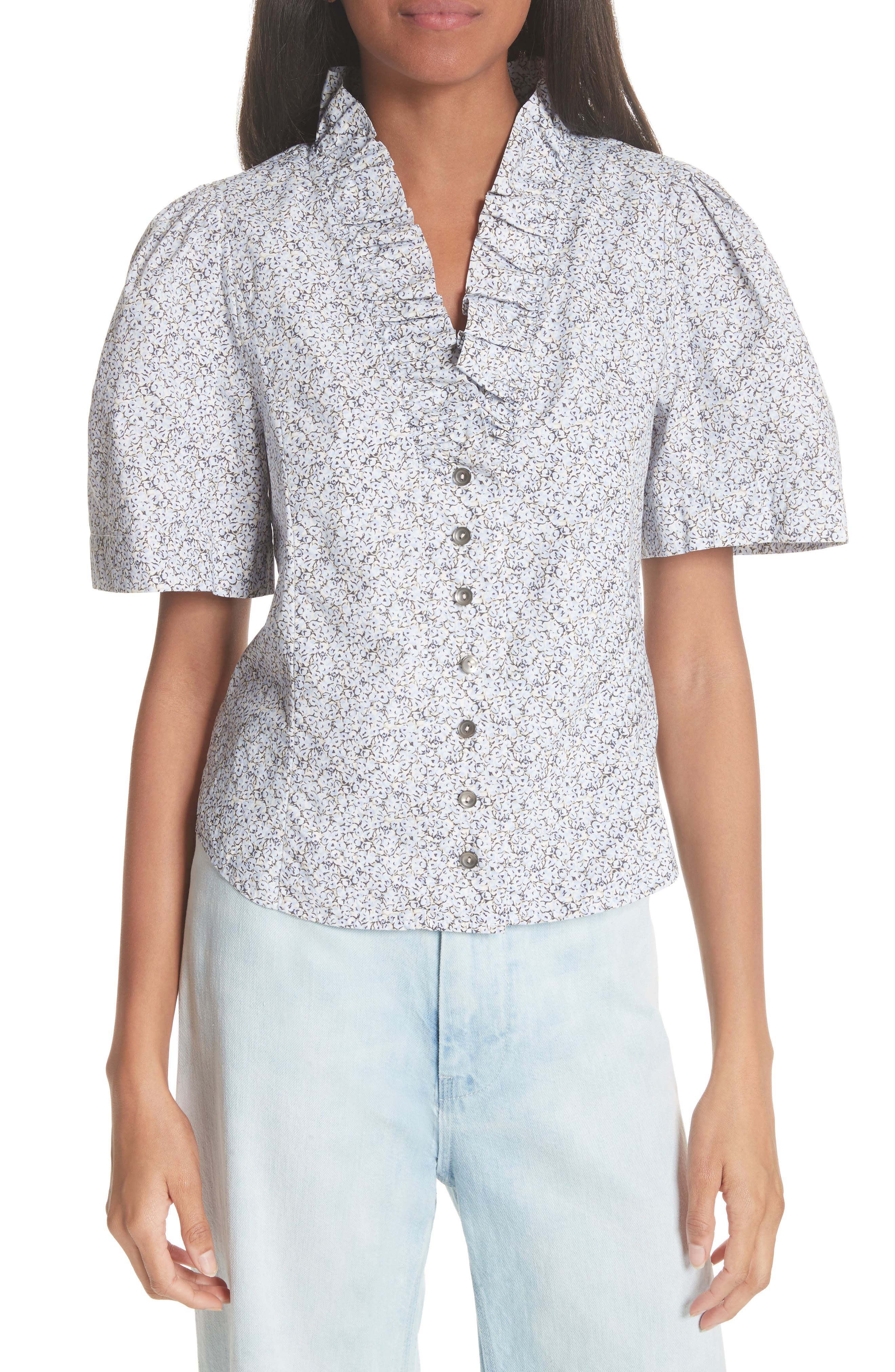 Meadow Floral Top,                         Main,                         color, IRIS COMBO