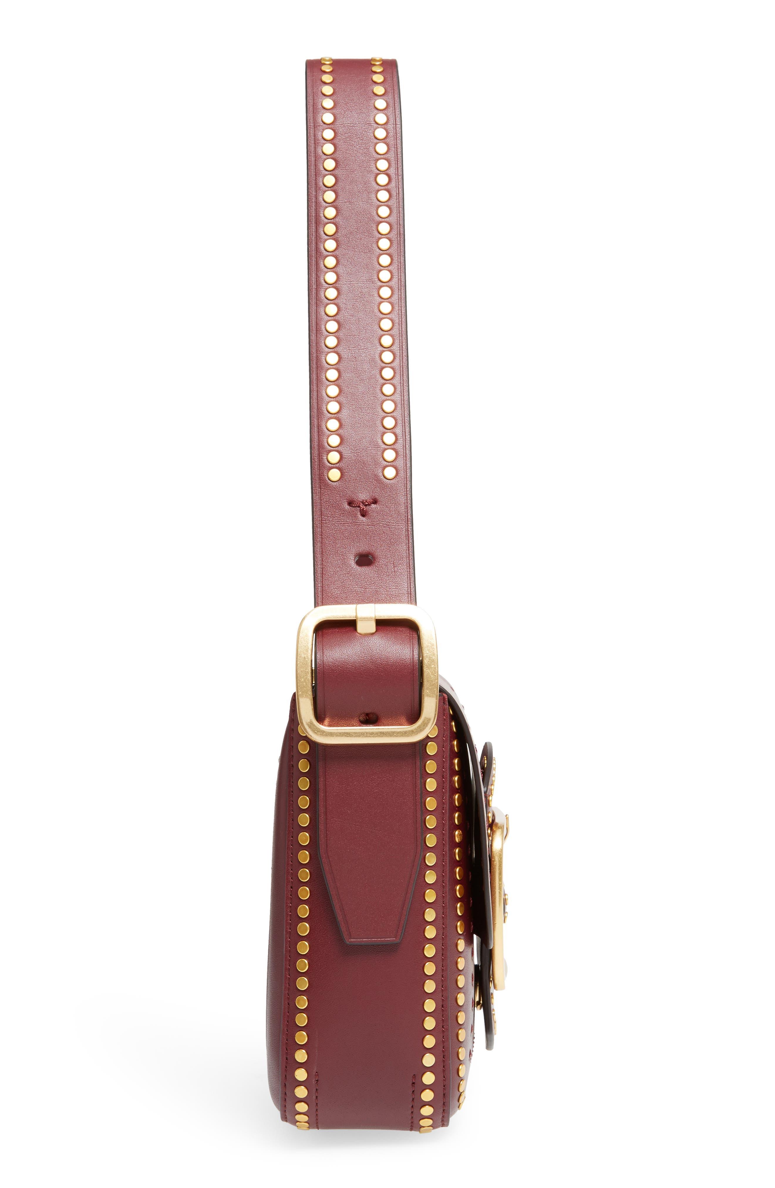 Small Sawyer Studded Leather Shoulder Bag,                             Alternate thumbnail 5, color,                             616