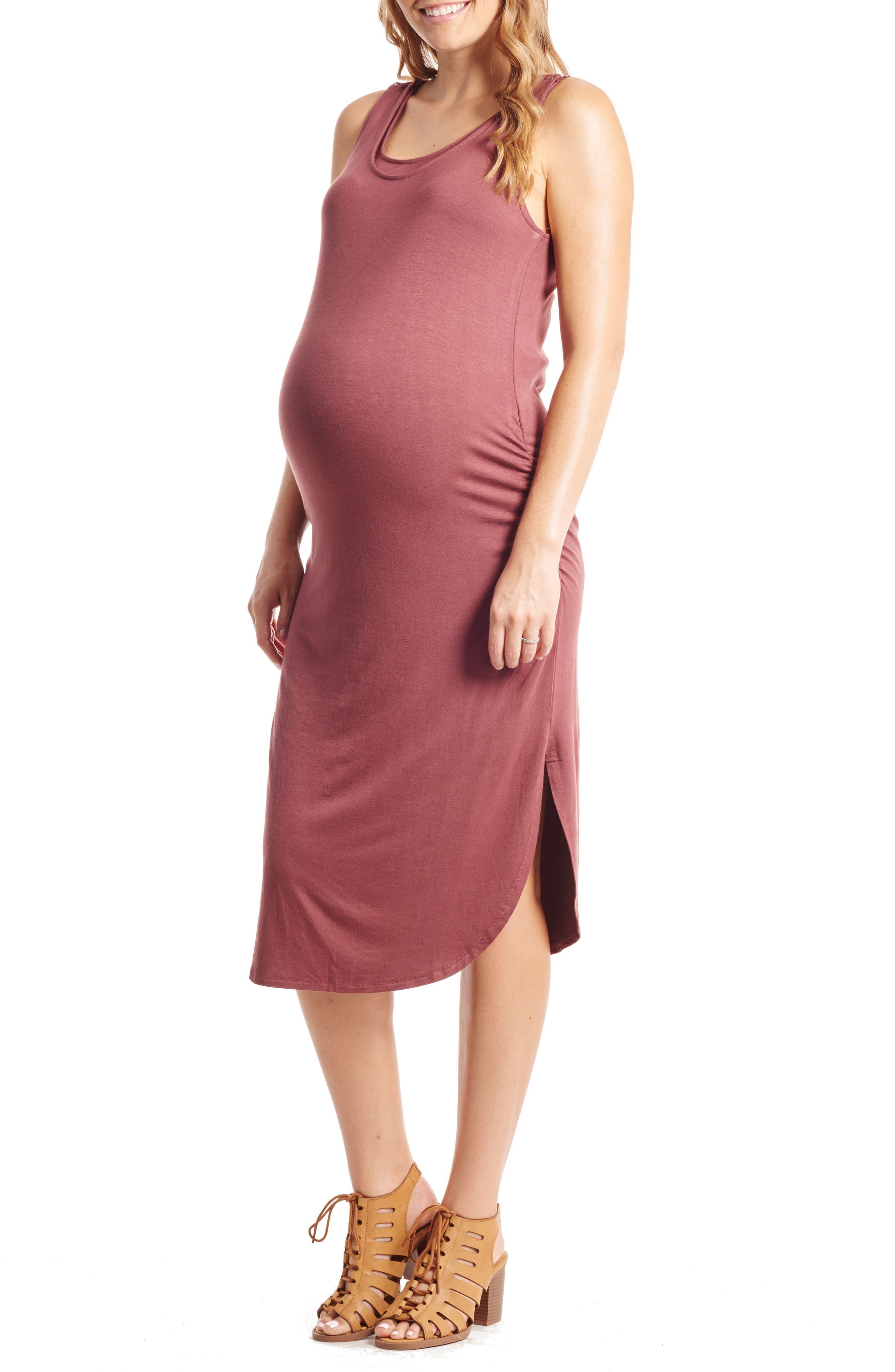 Demi Maternity/Nursing Dress,                         Main,                         color, CAYENNE