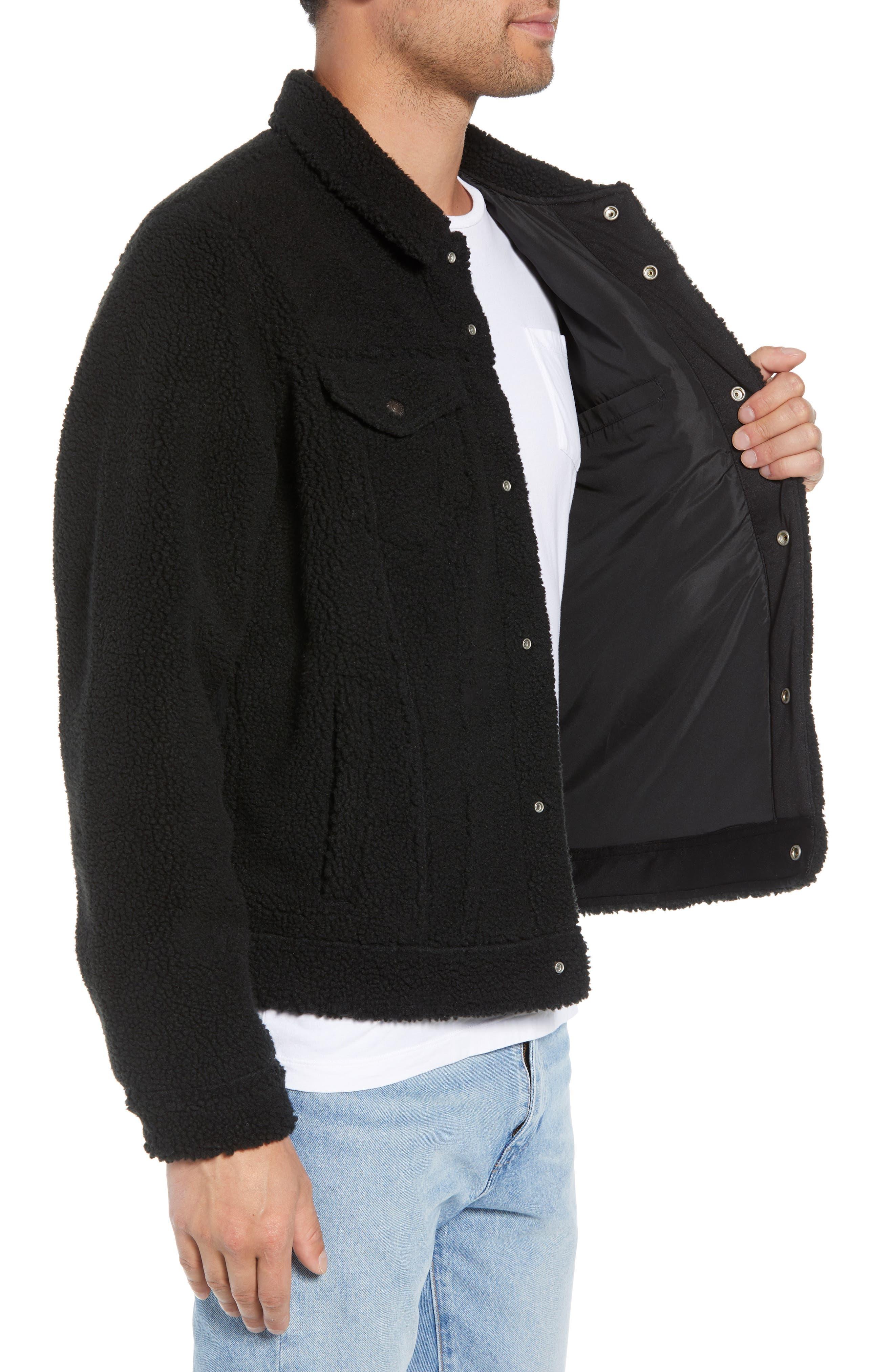 Fleece Trucker Jacket,                             Alternate thumbnail 3, color,                             BLACK