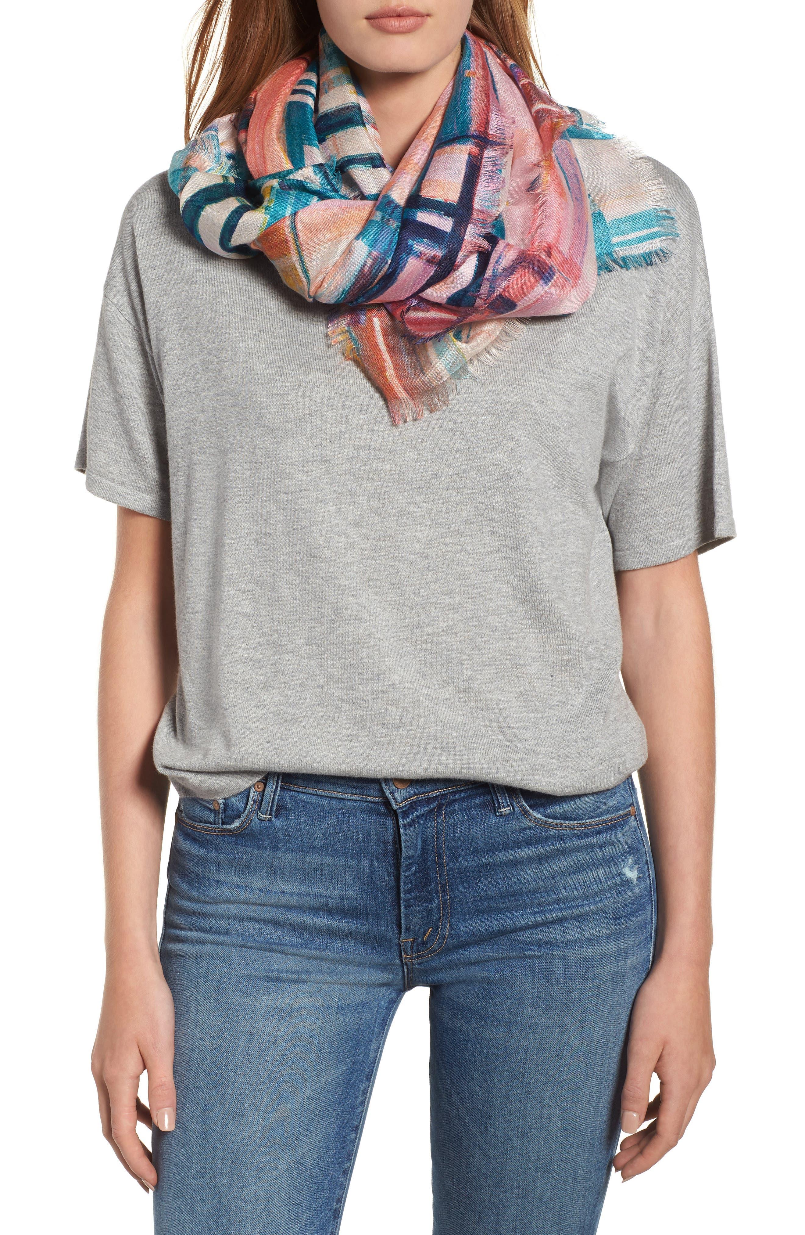 Eyelash Trim Print Cashmere & Silk Wrap,                             Main thumbnail 25, color,