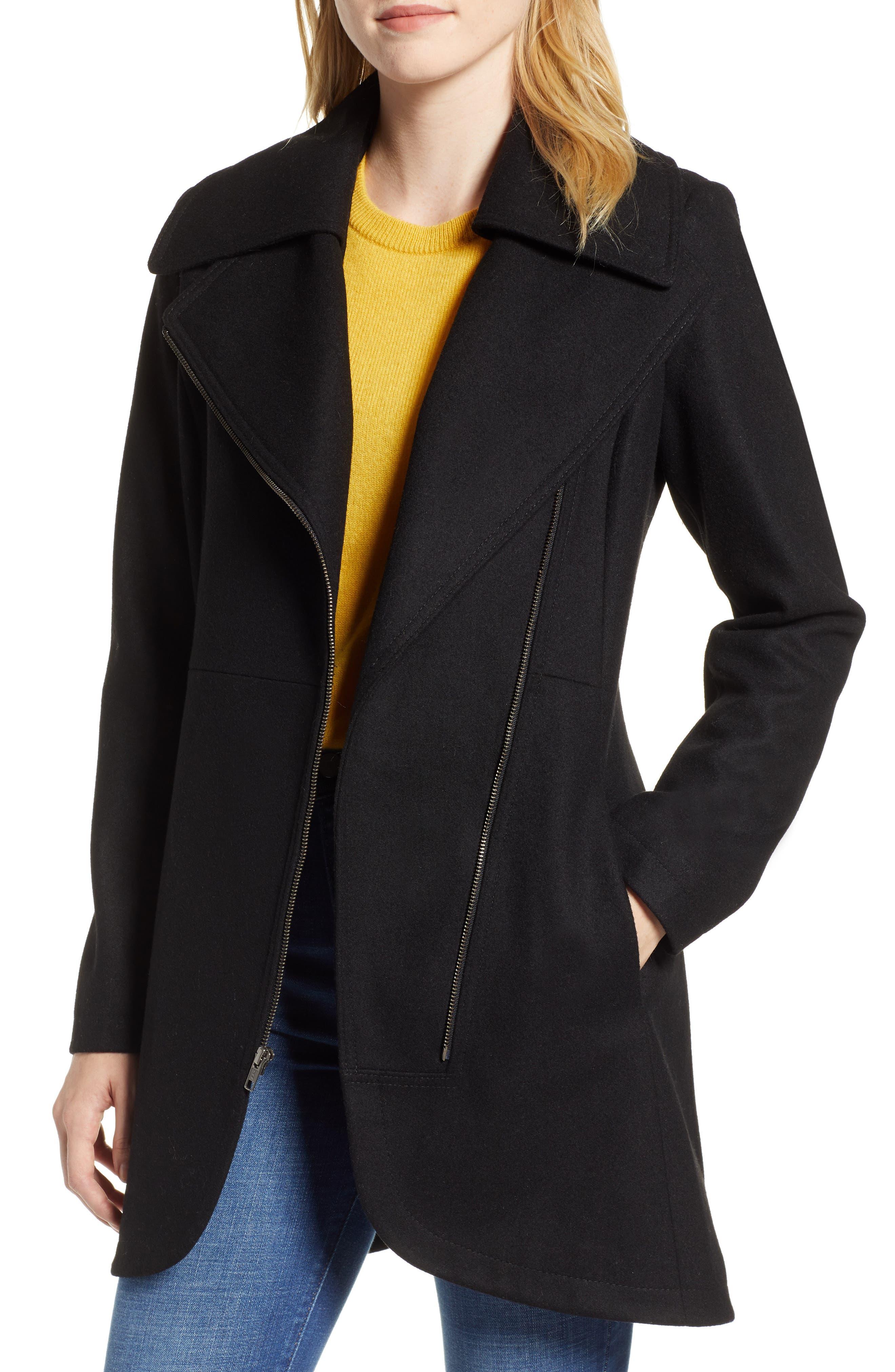 Asymmetrical Zip Wool Blend Coat,                             Alternate thumbnail 4, color,                             001