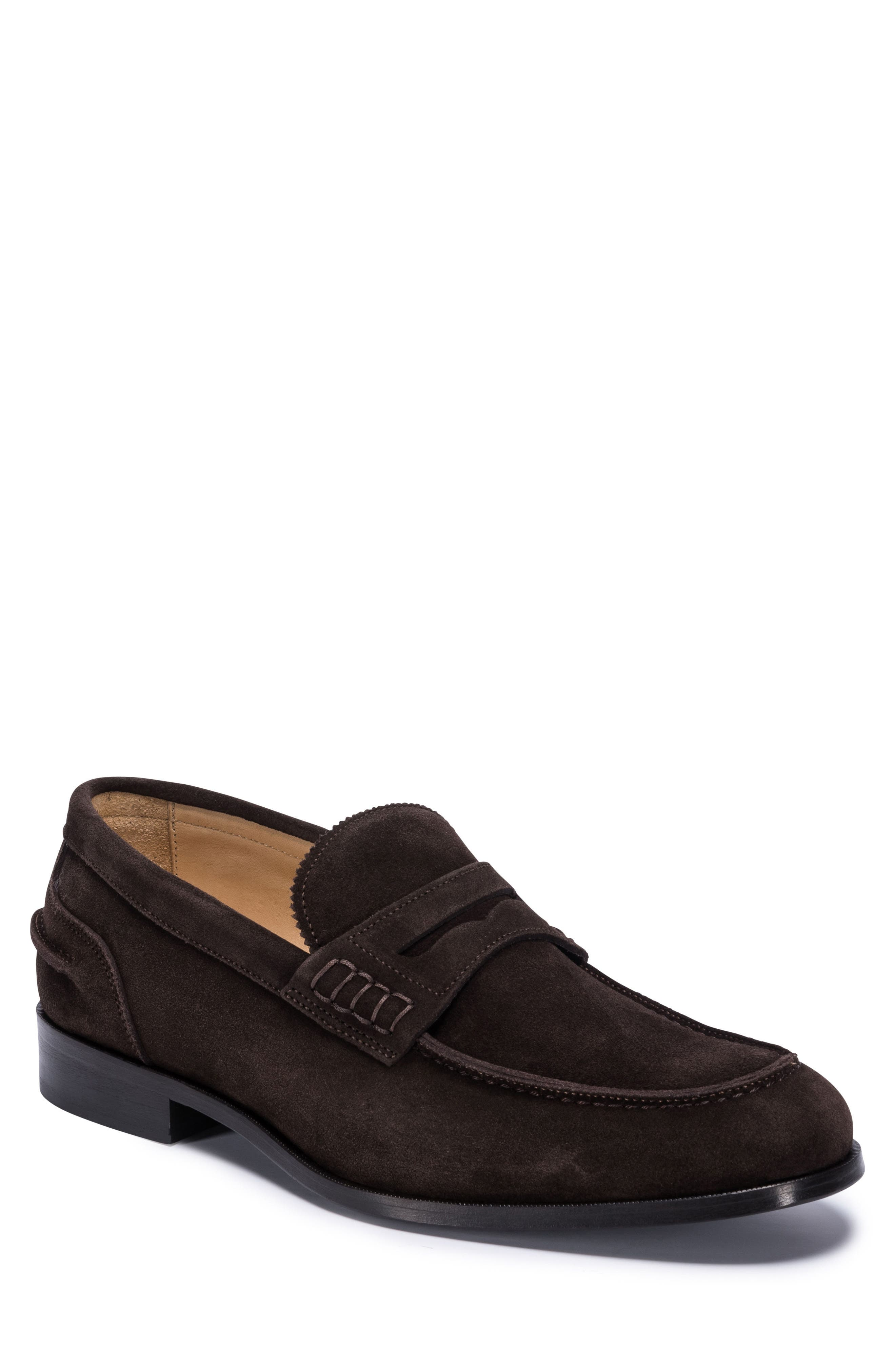 Torino Penny Loafer,                             Main thumbnail 1, color,                             BROWN SUEDE