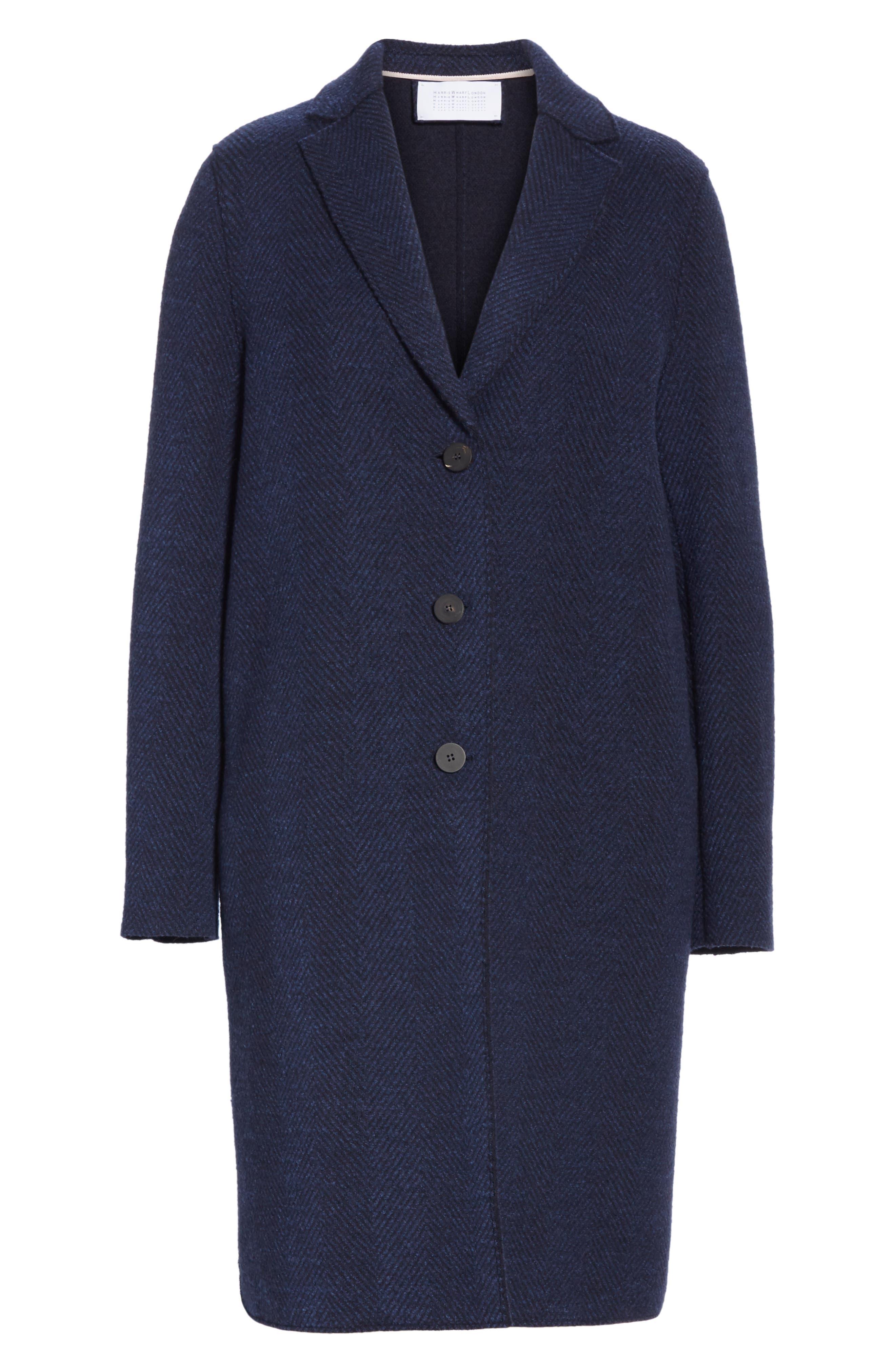 Herringbone Wool Coat,                             Alternate thumbnail 6, color,                             NAVY BLUE