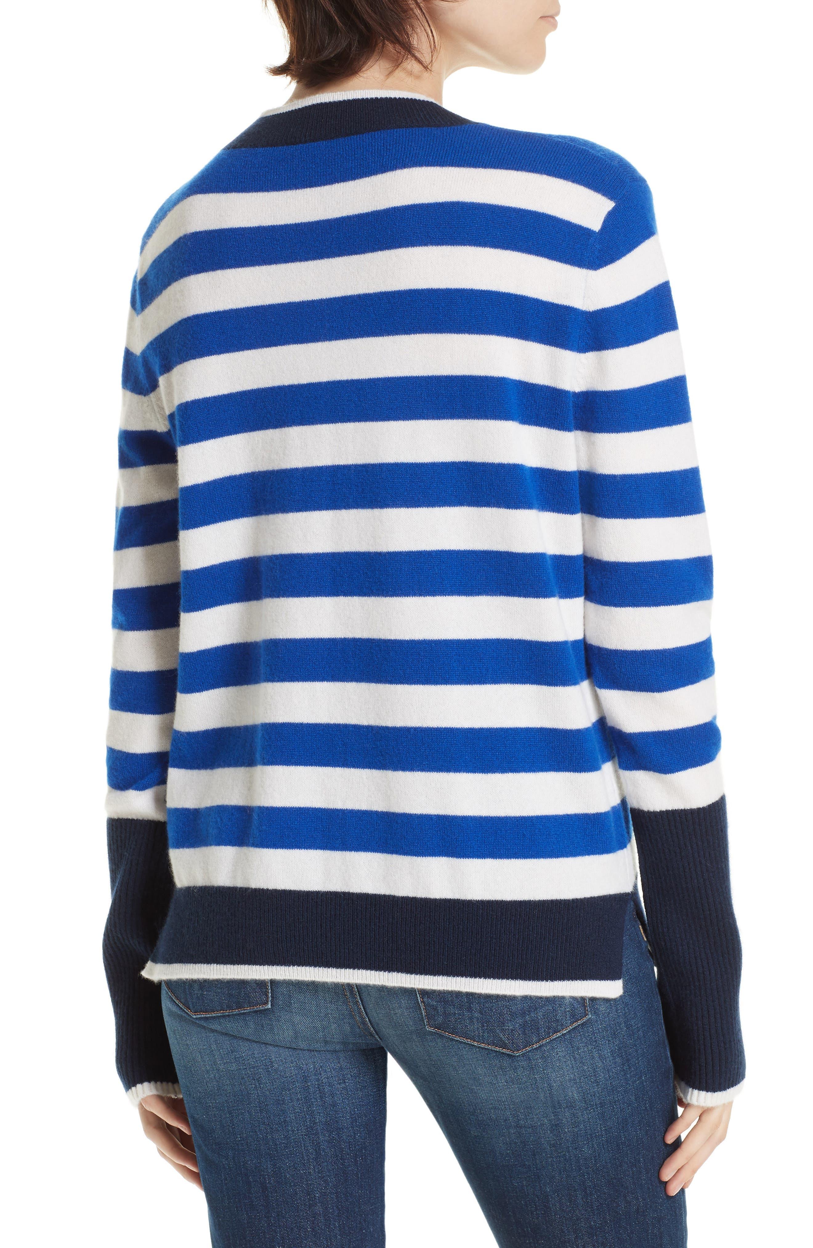 L'Universite Cashmere Sweater,                             Alternate thumbnail 2, color,                             BRIGHT BLUE/ CREAM/ NAVY