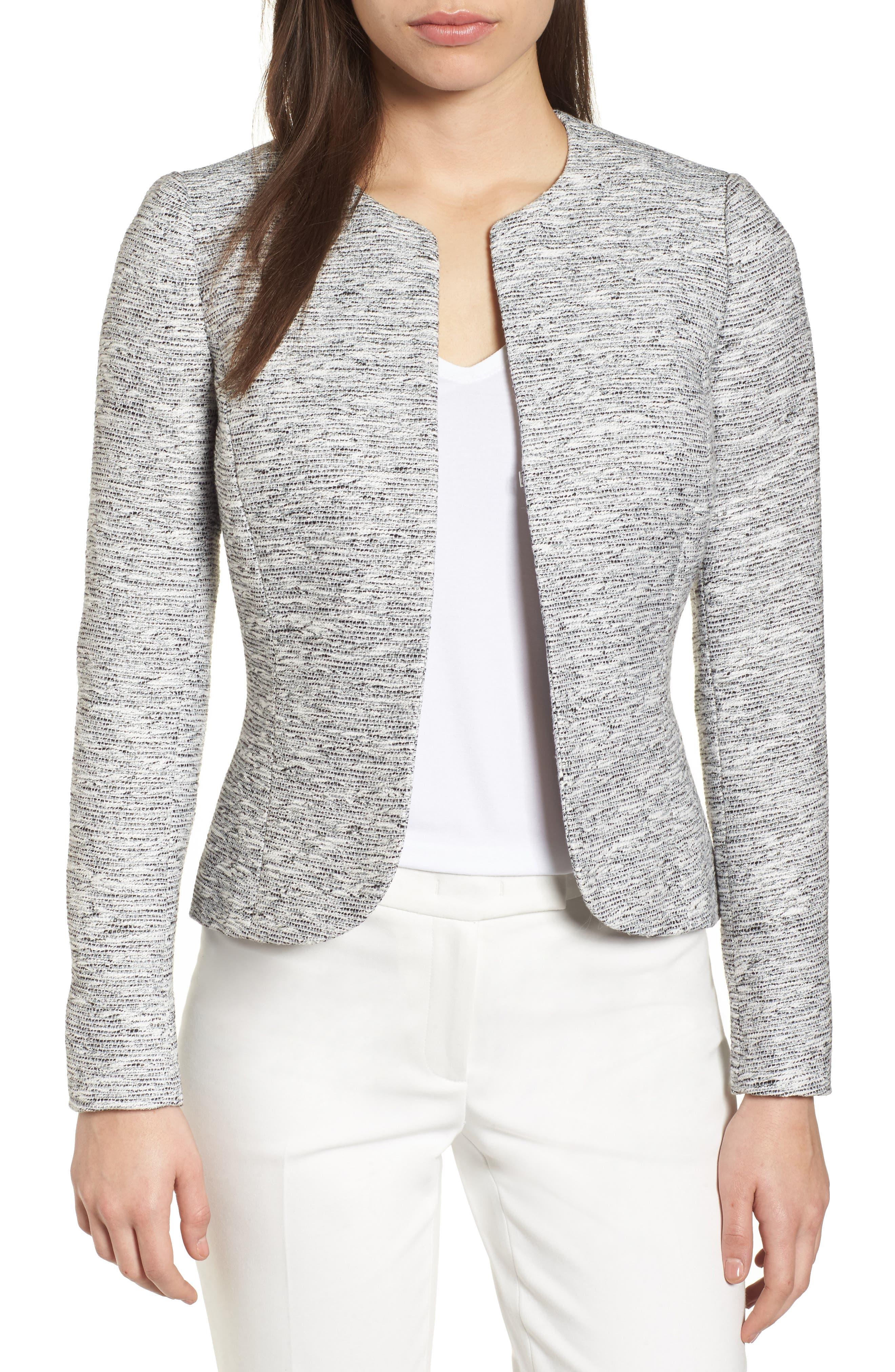 ANNE KLEIN Etched Tweed Jacket, Main, color, 020