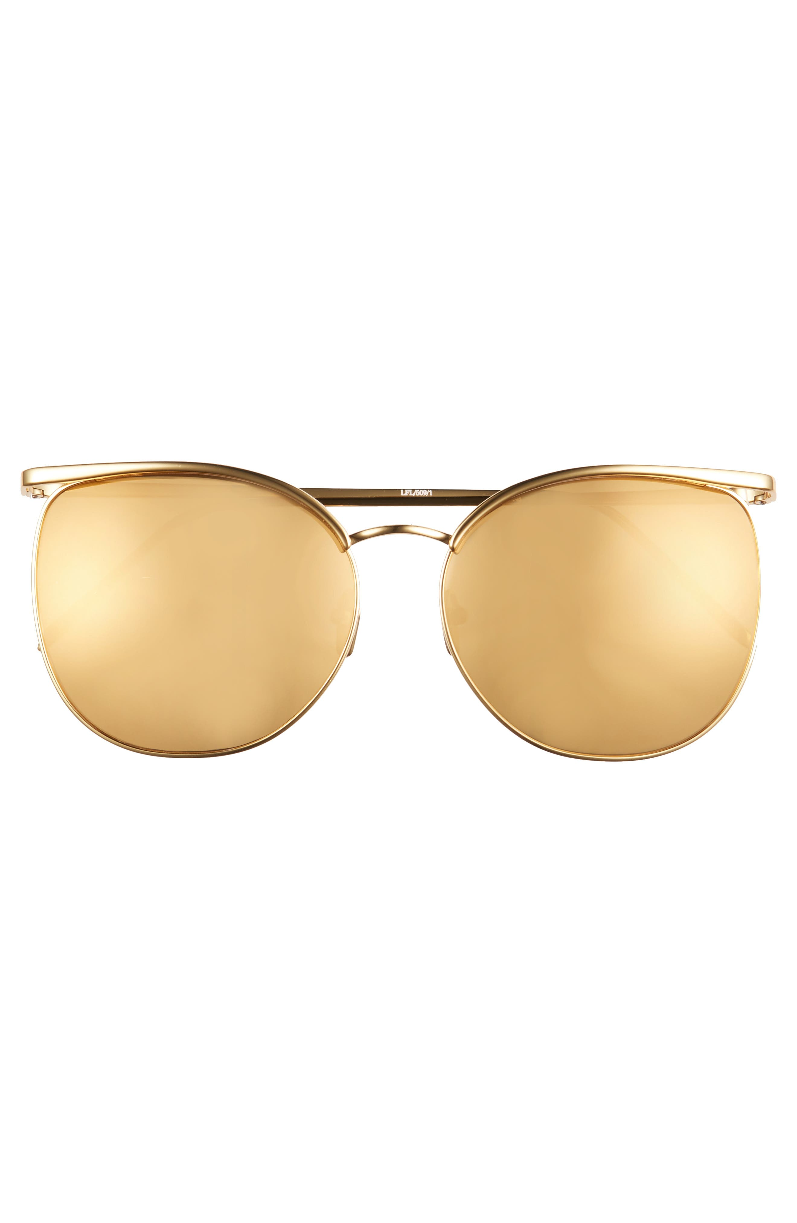 59mm Mirrored 22 Karat Gold Trim Sunglasses,                             Alternate thumbnail 3, color,                             710