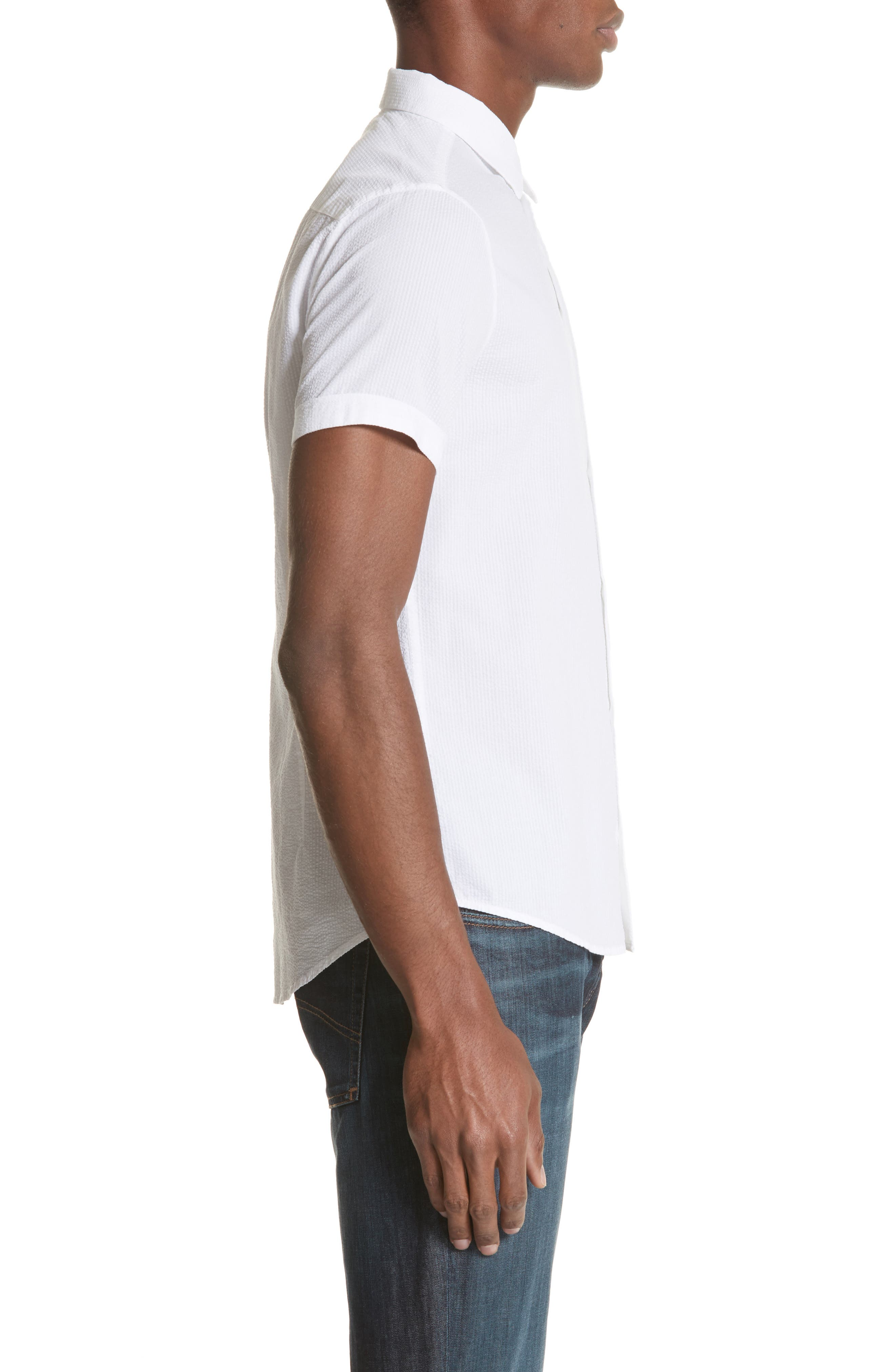 Regular Fit Short Sleeve Sport Shirt,                             Alternate thumbnail 3, color,                             BIANCO OTTICO