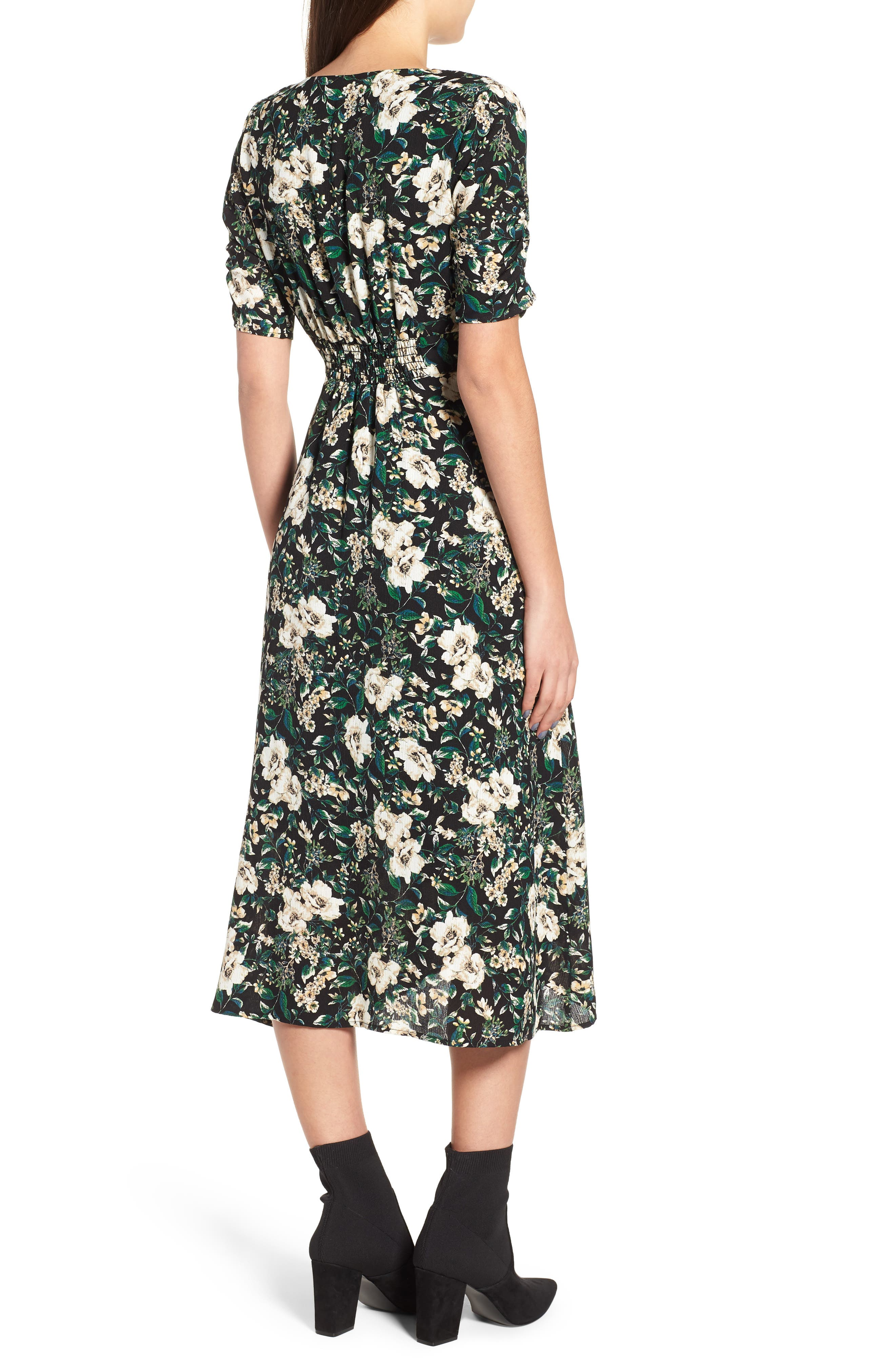 Button Front Midi Dress,                             Alternate thumbnail 2, color,                             GREEN IVORY FLORAL