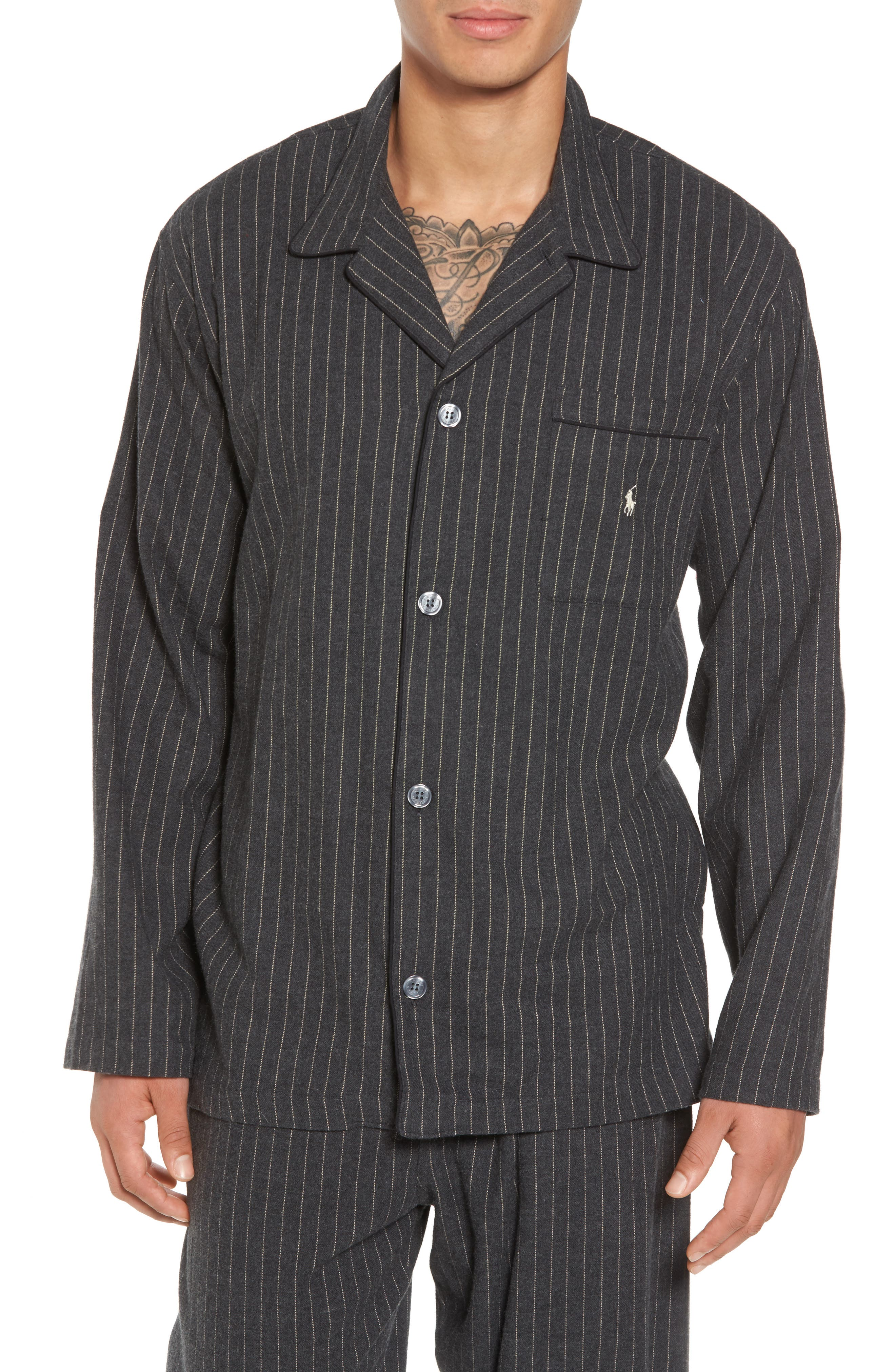 Polo Ralph Lauren Flannel Pajama Shirt,                             Main thumbnail 1, color,                             027