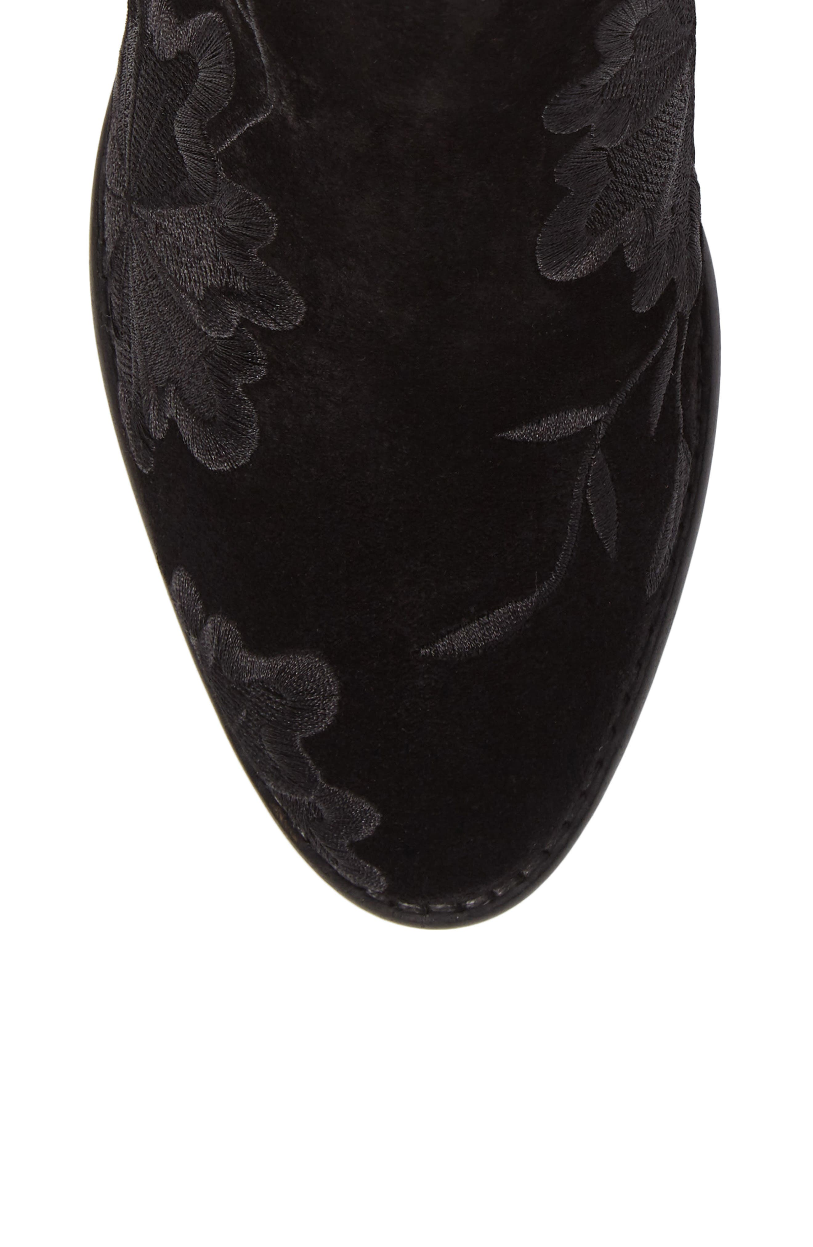 Lantern Embroidered Short Bootie,                             Alternate thumbnail 5, color,                             001