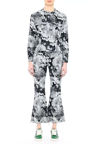 Marques'Almeida Floral Print Classic Fitted Denim Jacket, video thumbnail