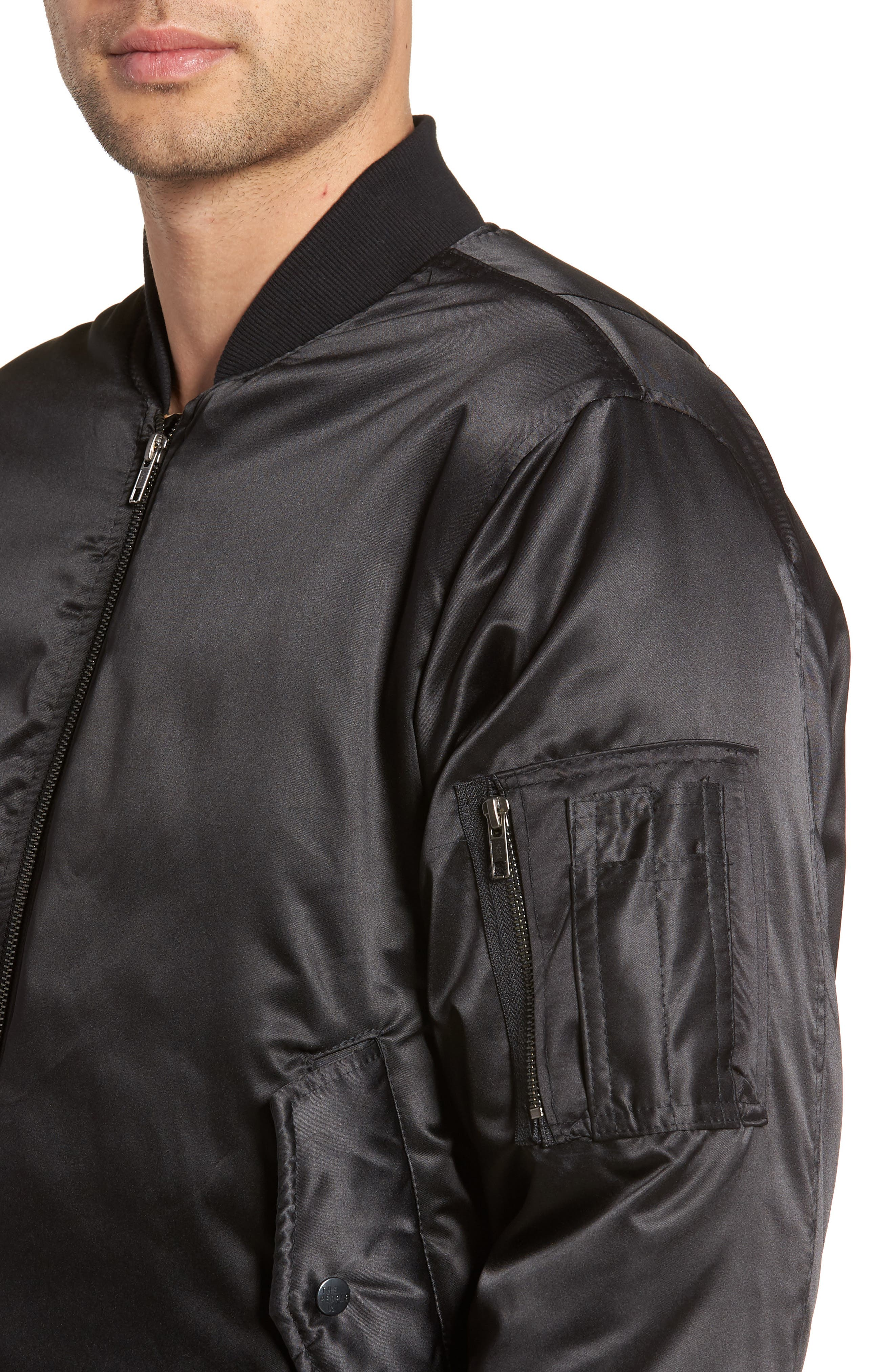 Maverick Reversible Bomber Jacket,                             Alternate thumbnail 5, color,                             BLACK/ JUNGLE CAT