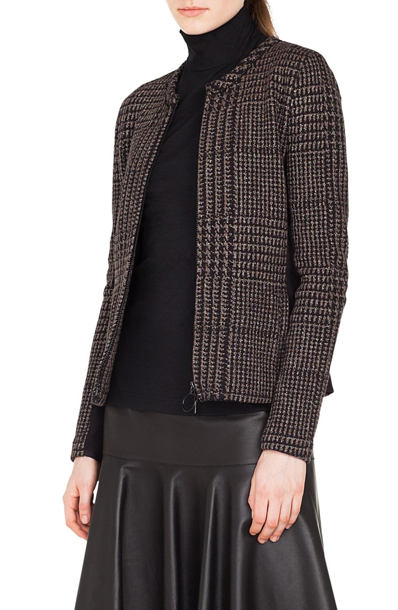 Metallic Houndstooth Jacquard Jacket,                             Alternate thumbnail 3, color,                             BLACK/ TAUPE