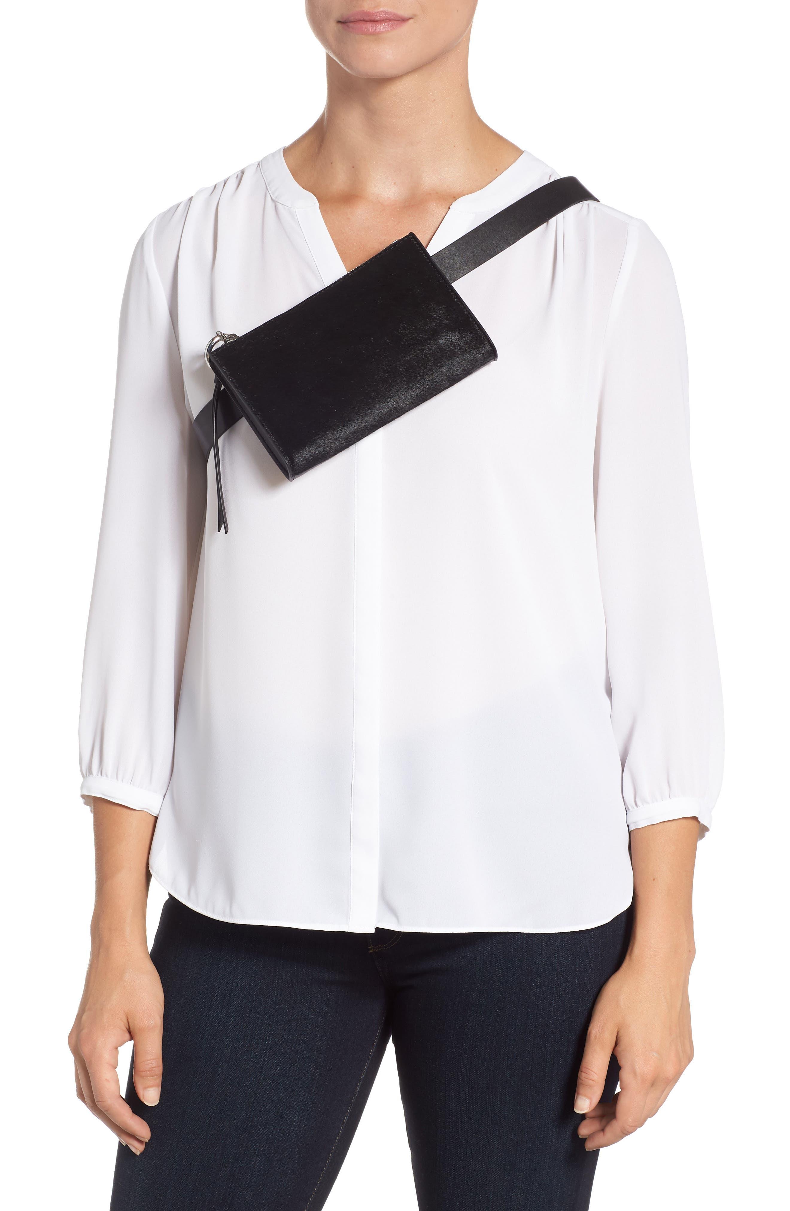 Ava Genuine Calf Hair Belt Bag,                             Alternate thumbnail 3, color,                             BLACK/ BLACK