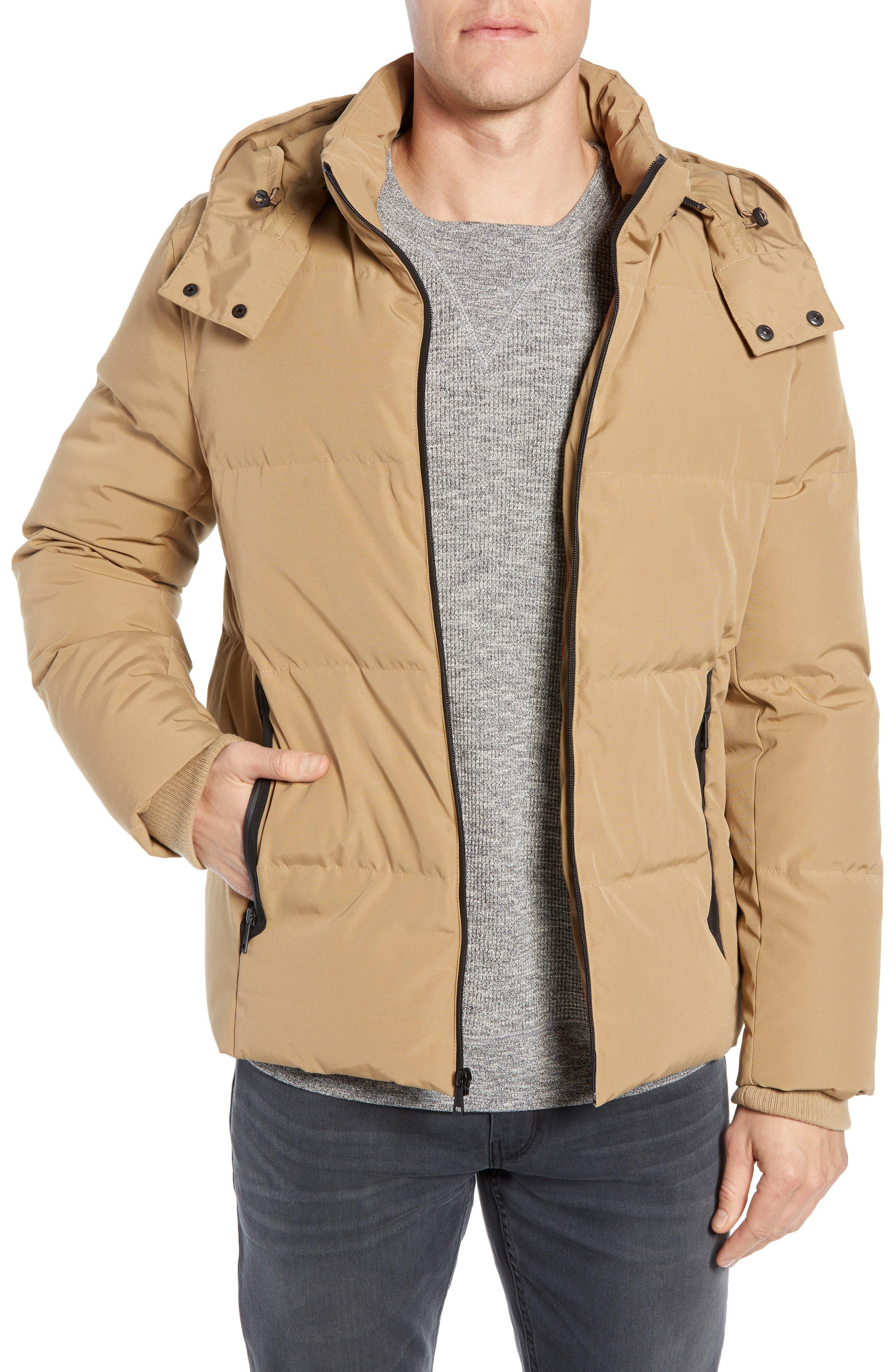 Hooded Puffer Jacket,                         Main,                         color, KHAKI