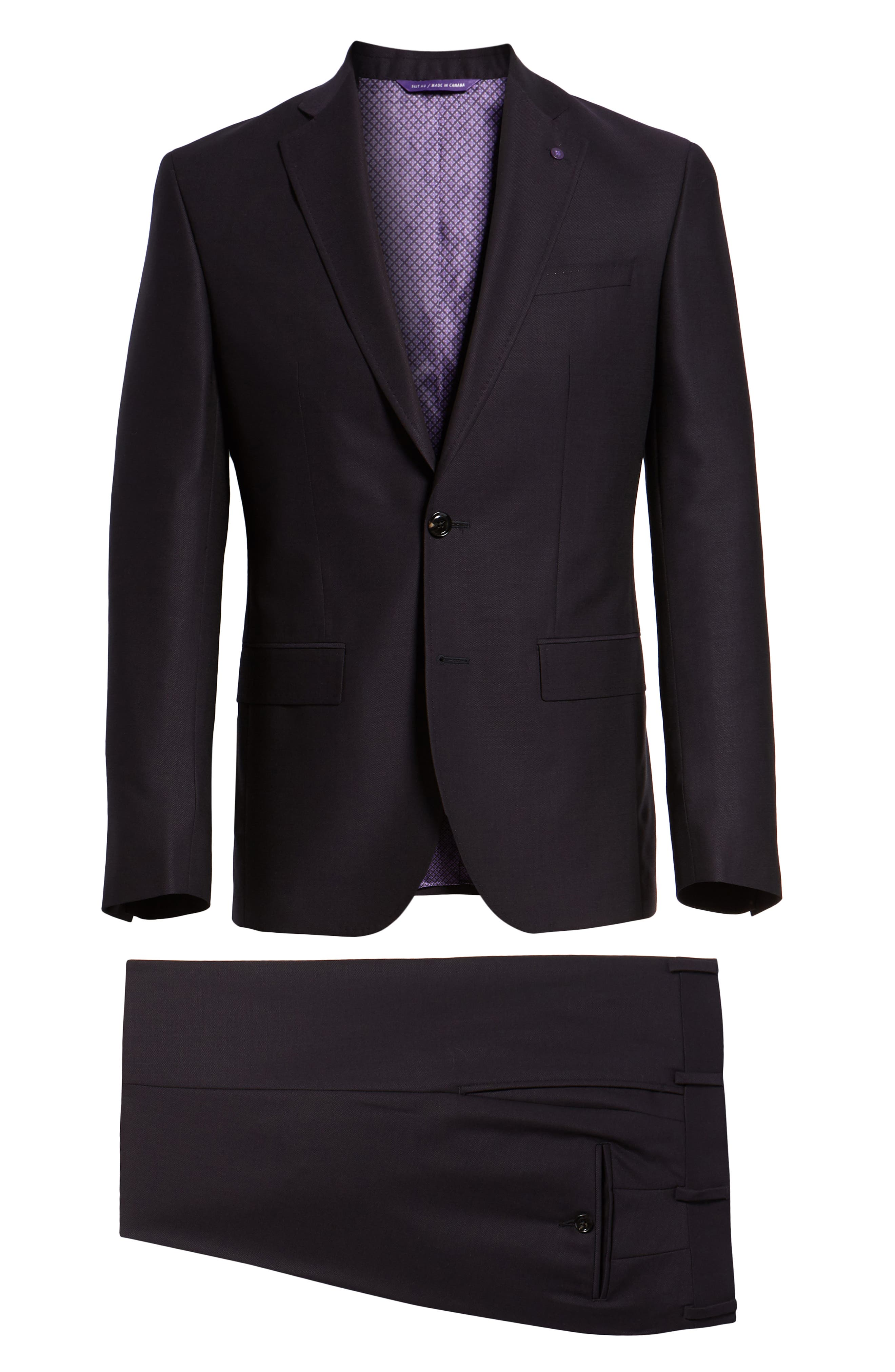 Roger Extra Trim Fit Solid Wool Suit,                             Alternate thumbnail 8, color,                             DEEP EGGPLANT