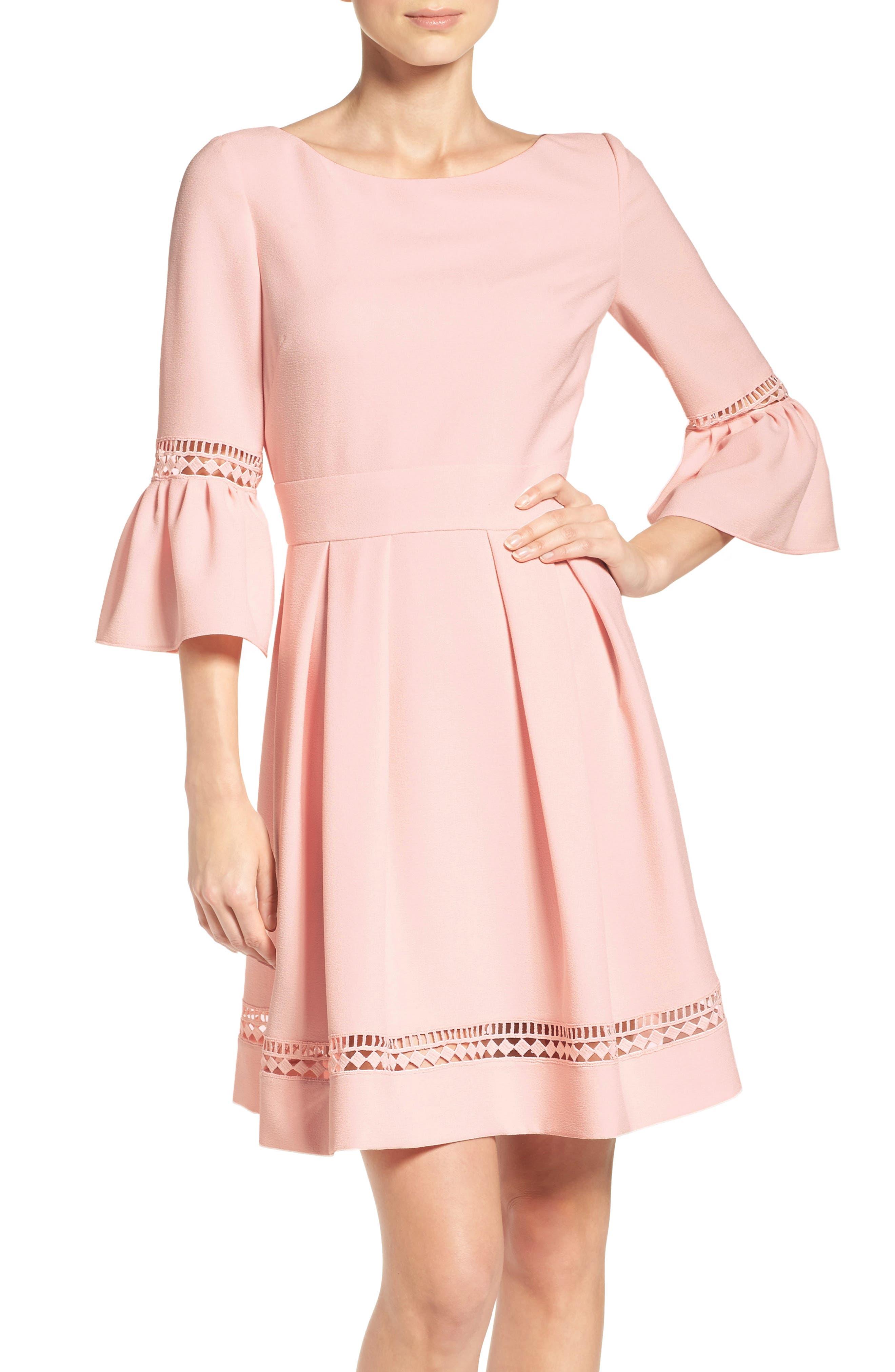 ELIZA J Bell Sleeve Fit & Flare Dress, Main, color, BLUSH