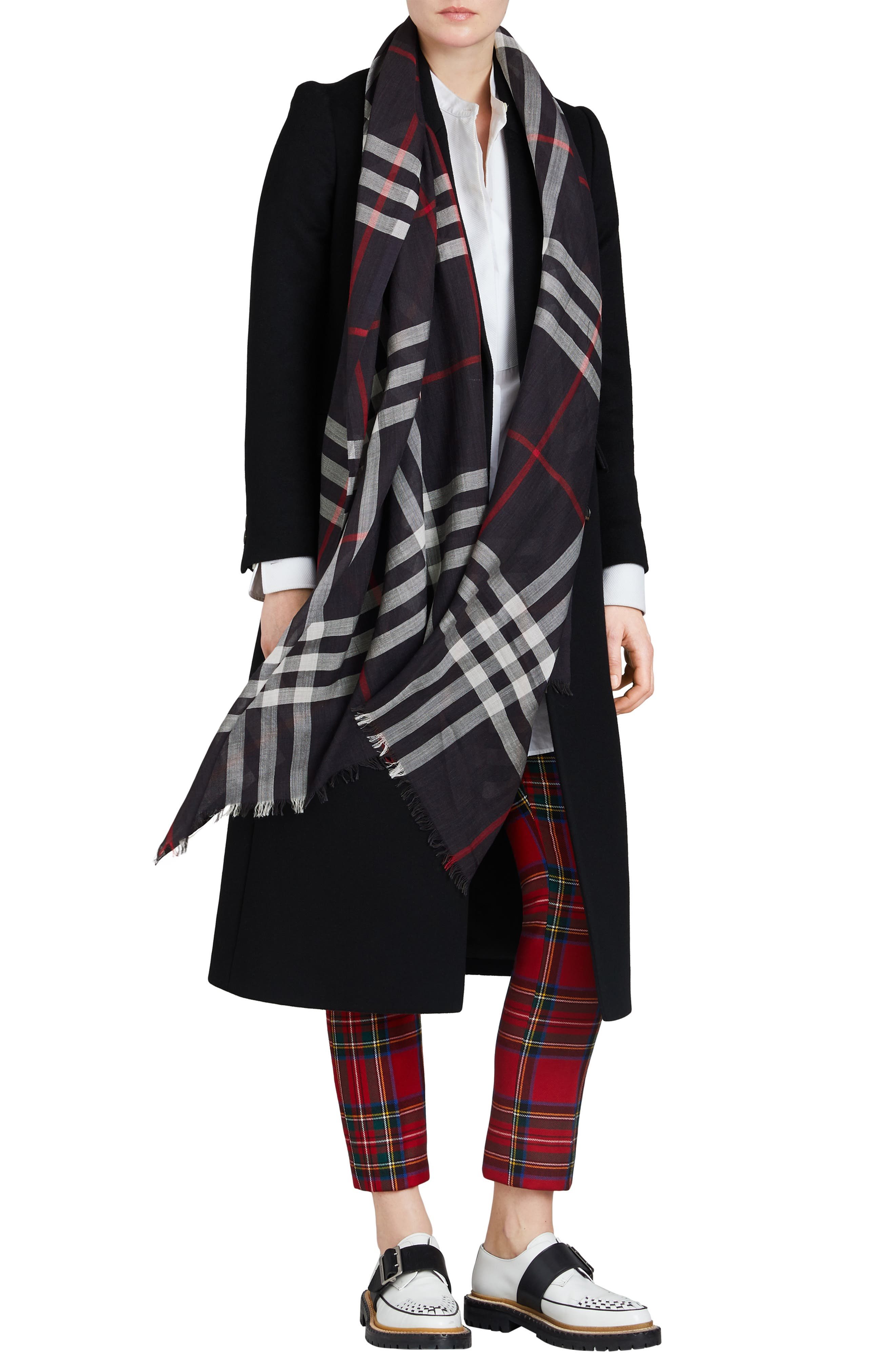 Giant Check Print Wool & Silk Scarf,                             Alternate thumbnail 72, color,