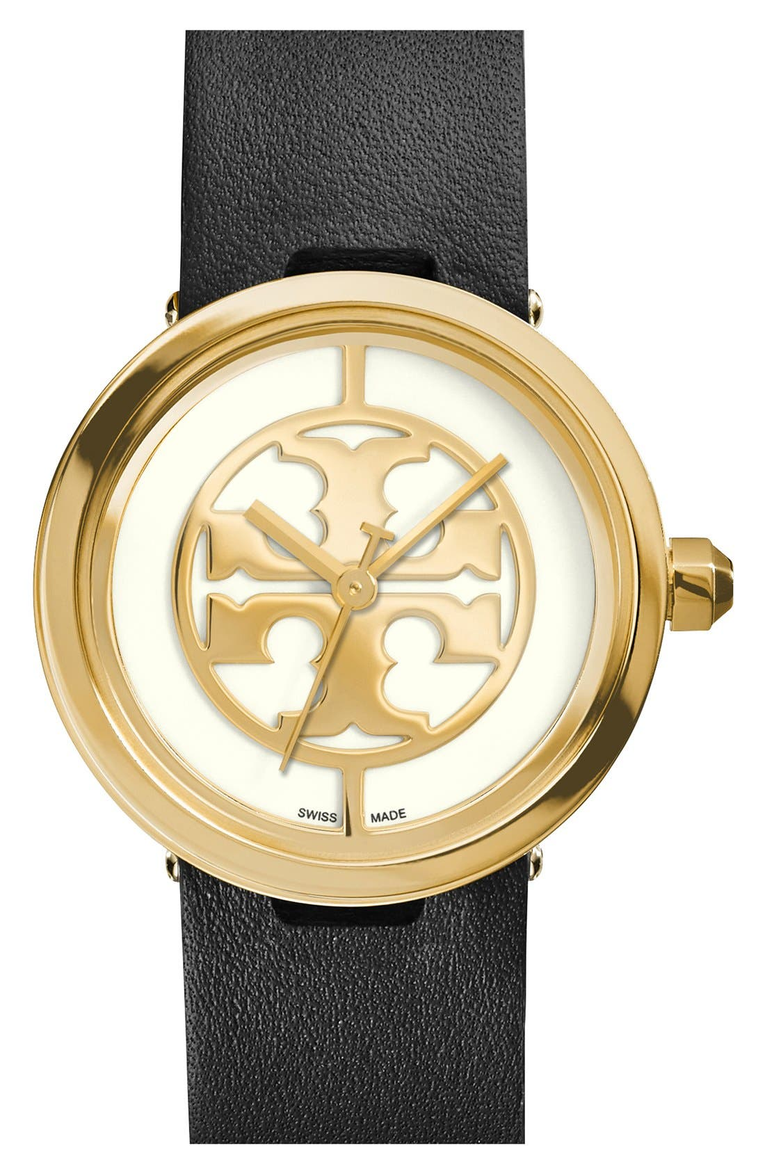 TORY BURCH 'Reva' Logo Dial Leather Strap Watch, 28mm, Main, color, 002