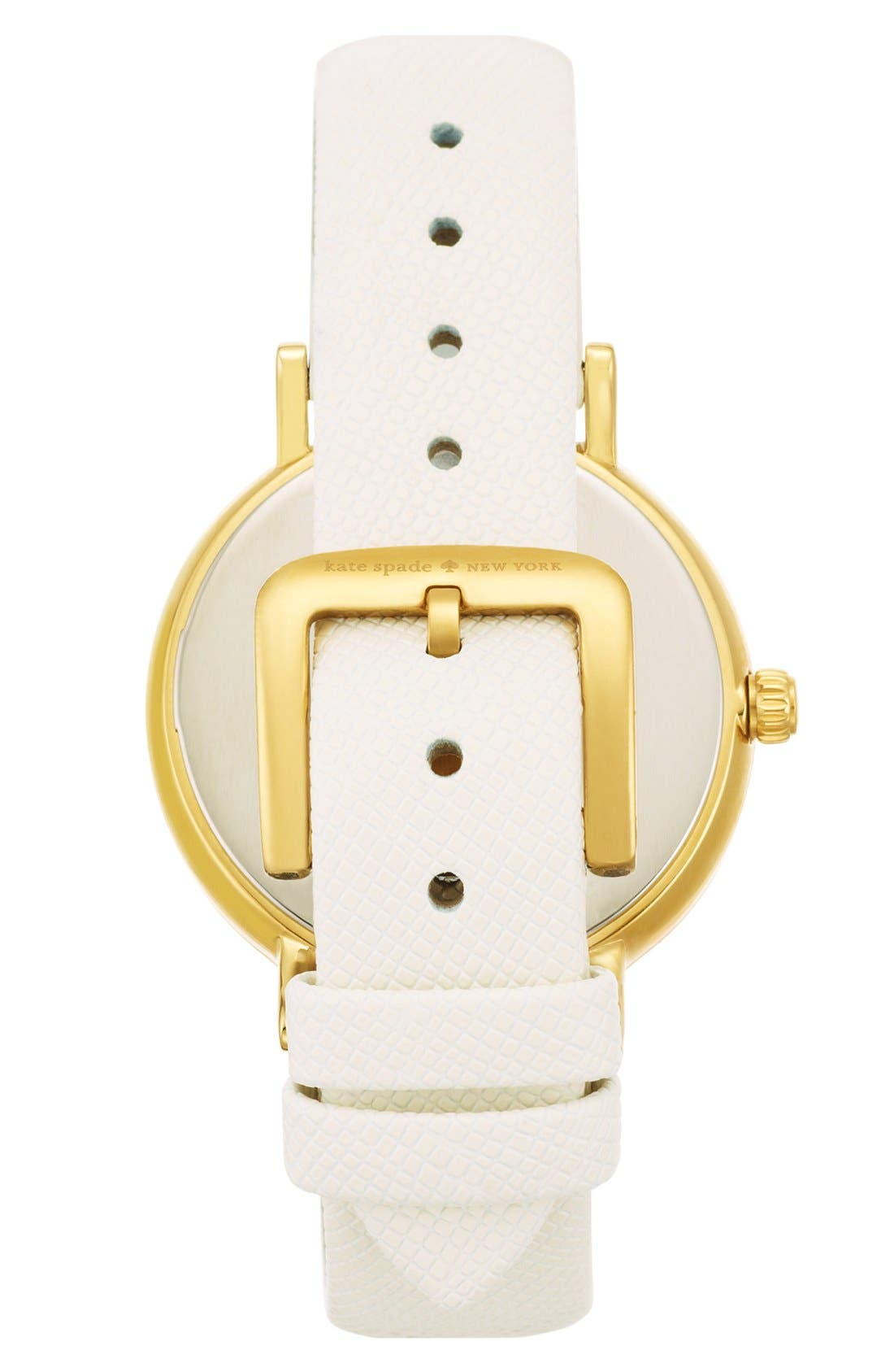 KATE SPADE NEW YORK,                             'metro' enamel bezel leather strap watch, 38mm,                             Alternate thumbnail 3, color,                             100