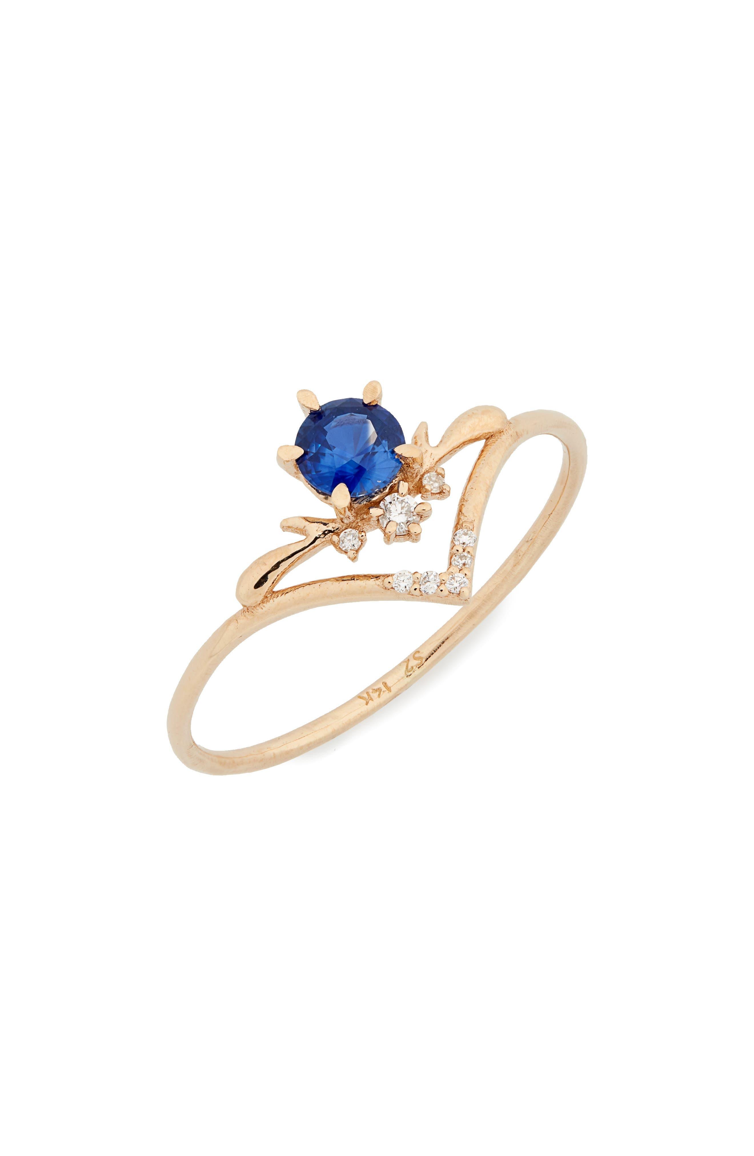 Moon Tear Sapphire & Diamond Ring,                             Main thumbnail 1, color,                             GOLD