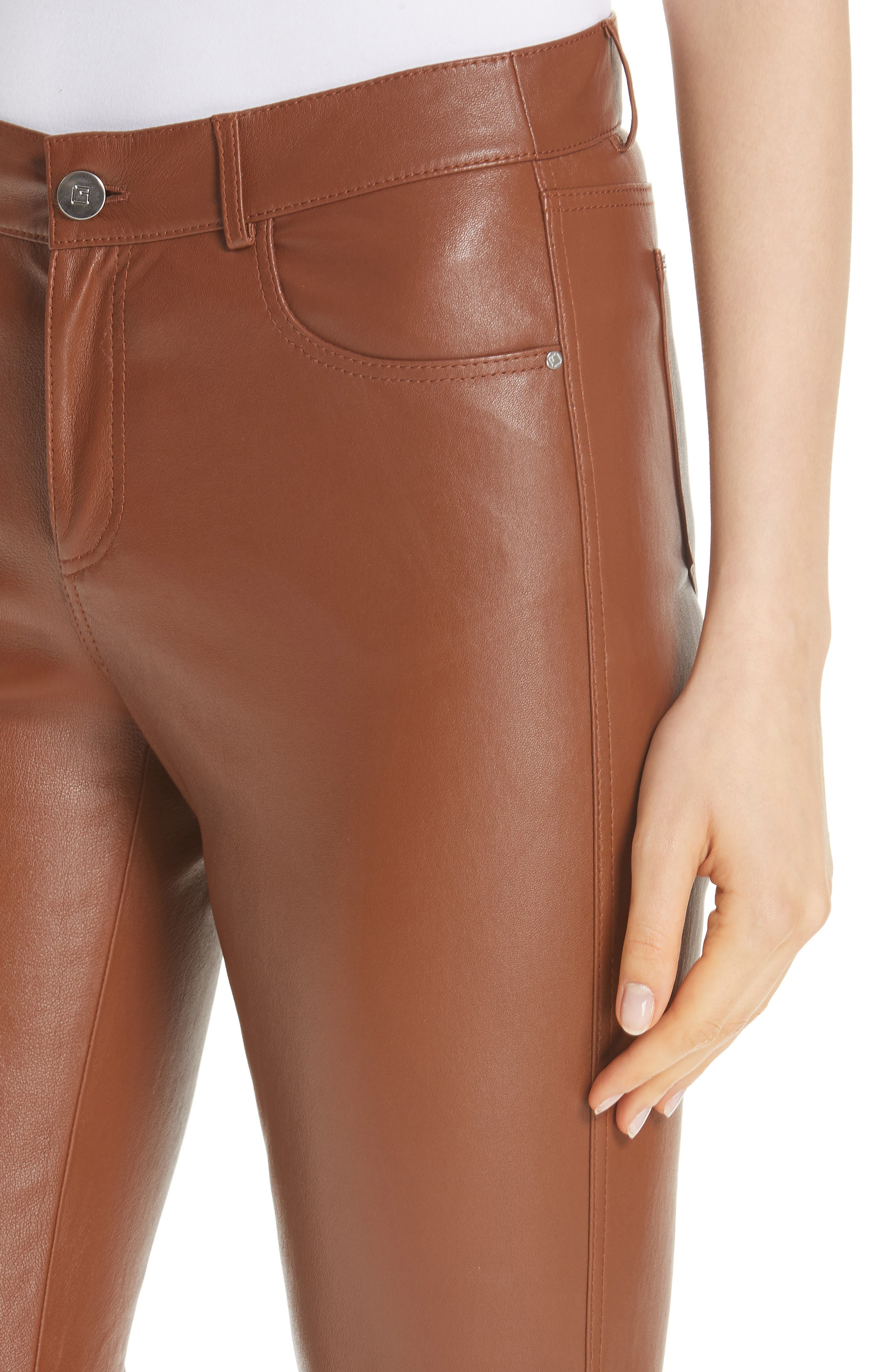 Mercer Nappa Leather Pants,                             Alternate thumbnail 4, color,                             VICUNA