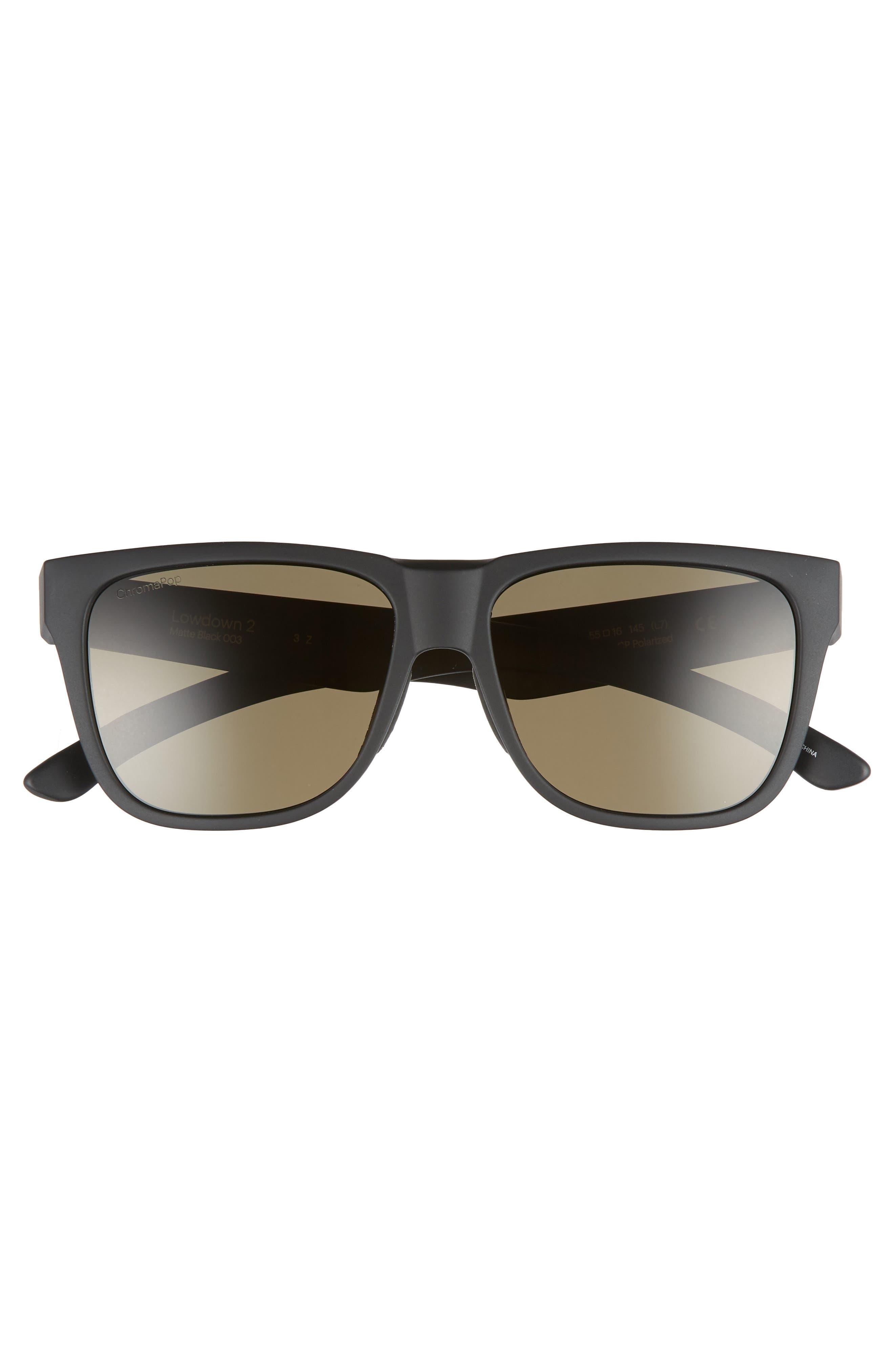 Lowdown 2 55mm ChromaPop<sup>™</sup> Polarized Sunglasses,                             Alternate thumbnail 2, color,                             MATTE BLACK/ GREY GREEN