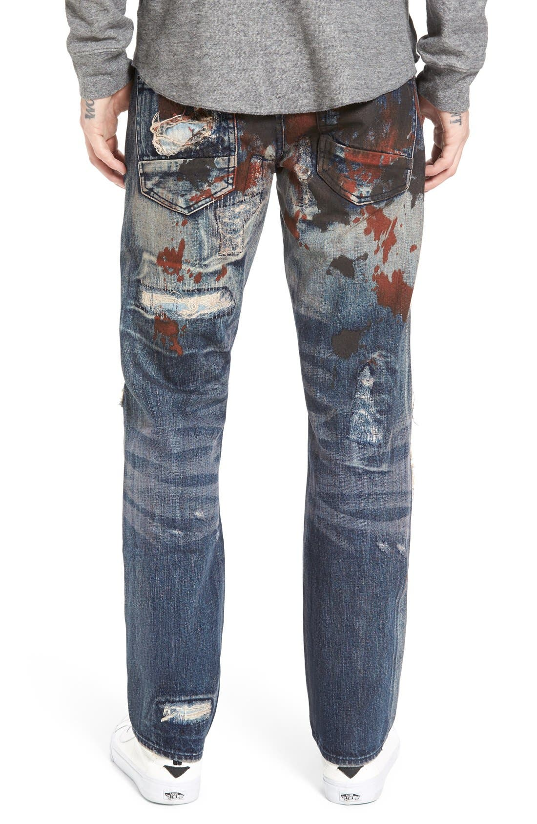 'Barracuda' Destroyed Straight Leg Jeans,                             Alternate thumbnail 4, color,                             490