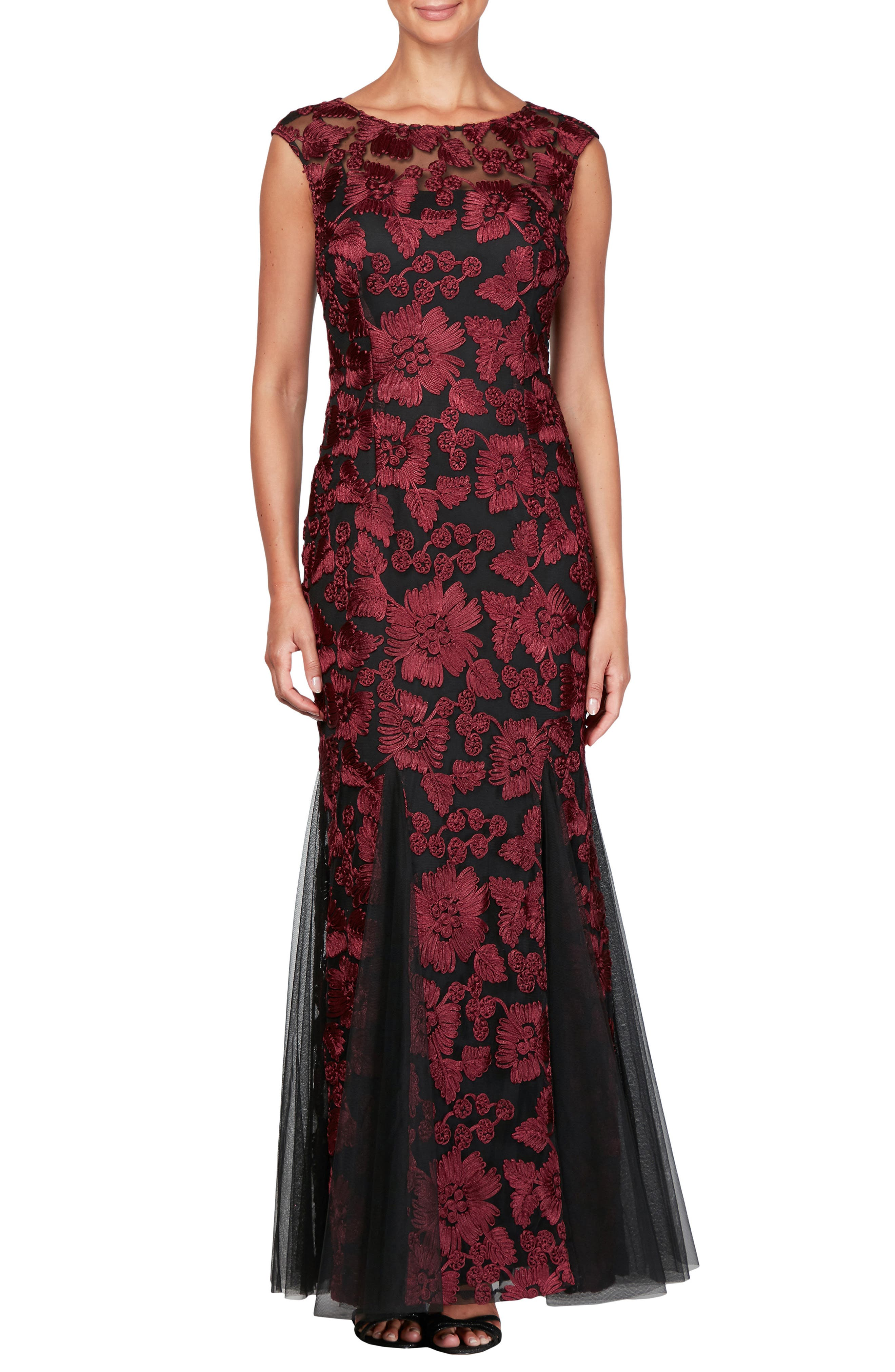ALEX EVENINGS Tulle Mermaid Gown, Main, color, 001