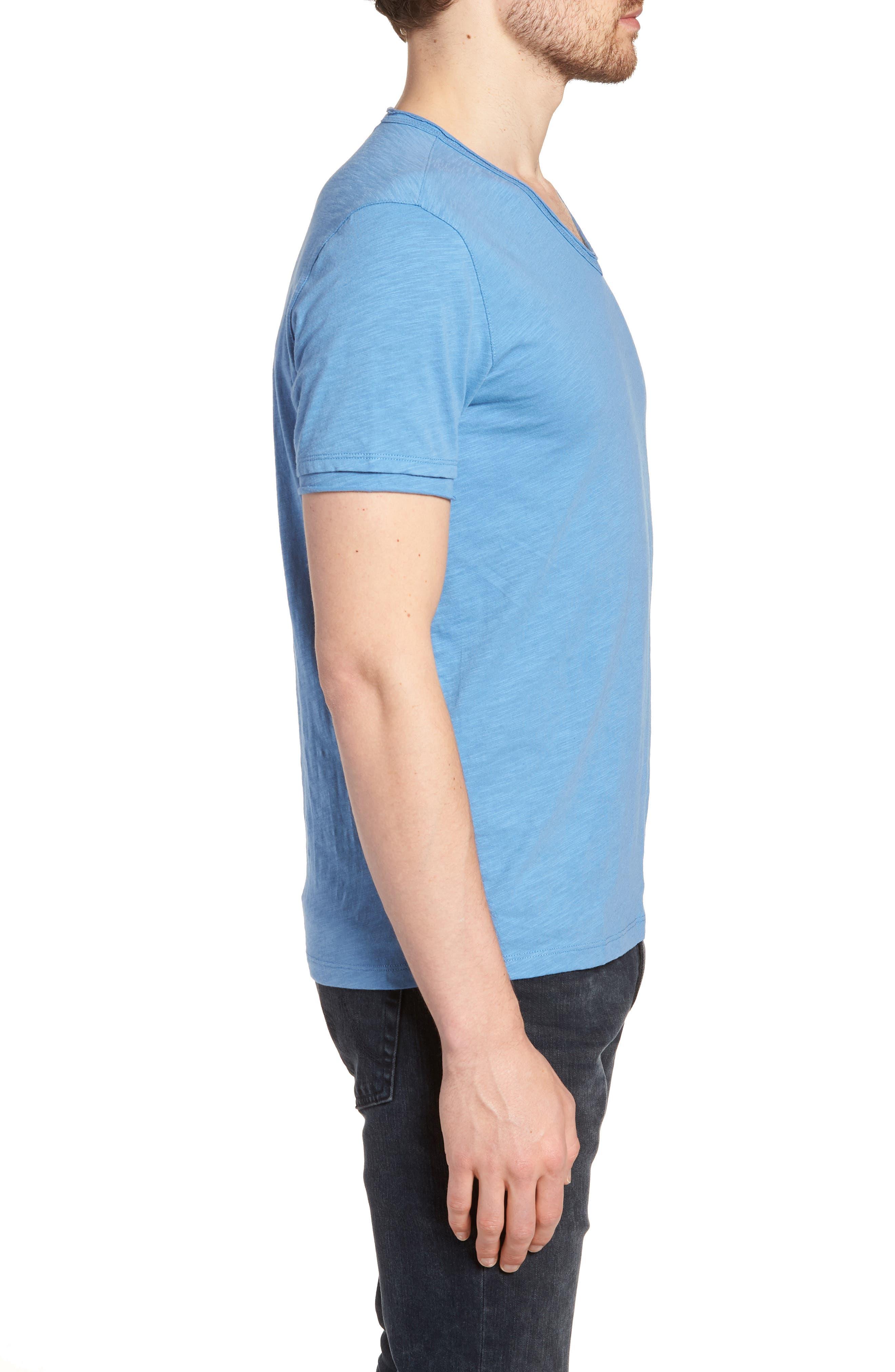 Slim Fit Slubbed V-Neck T-Shirt,                             Alternate thumbnail 3, color,                             PETROL BLUE