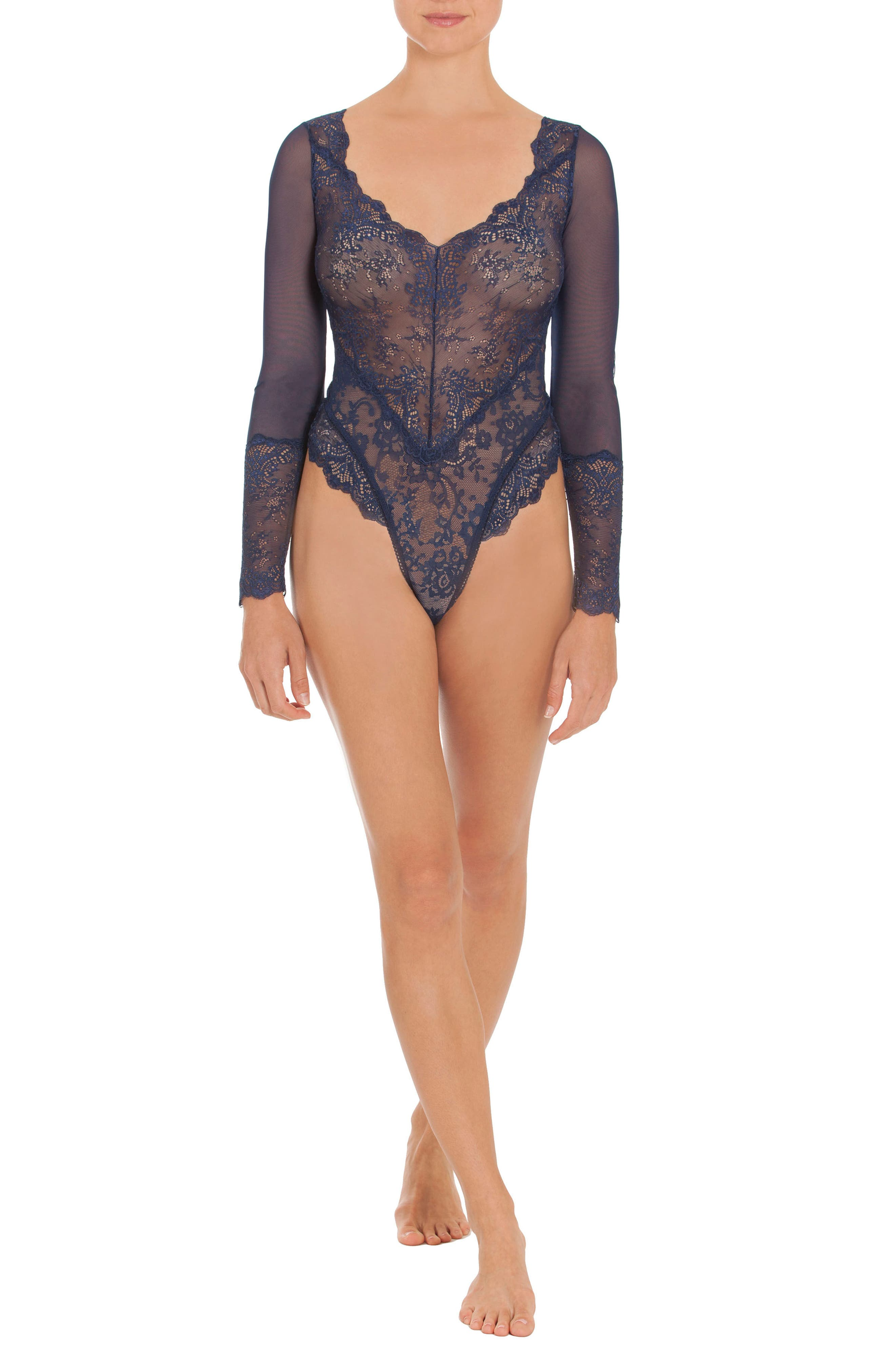 Thong Lace Teddy,                             Alternate thumbnail 5, color,                             400