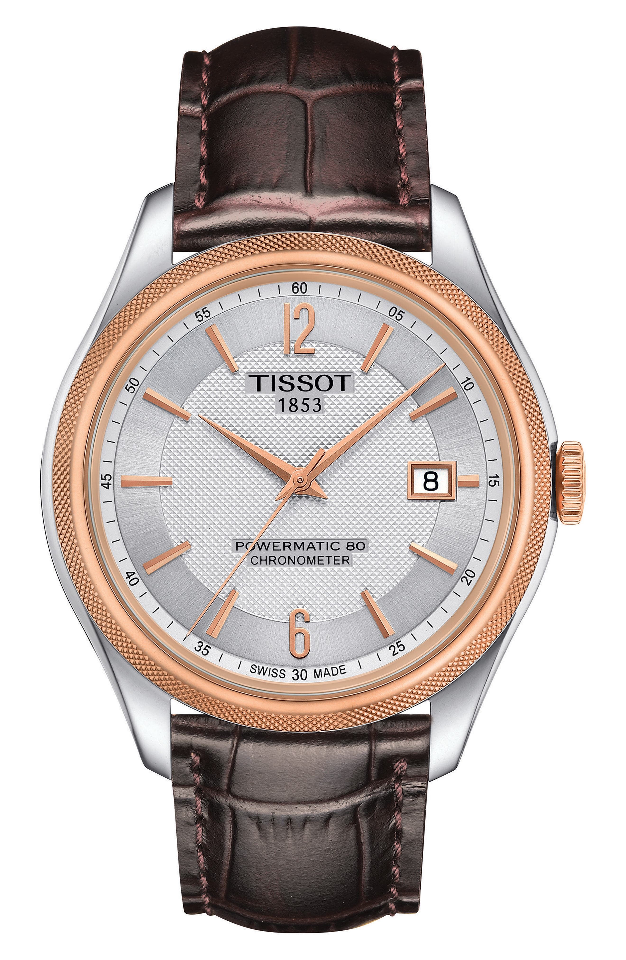Ballade Powermatic 80 Chronometer Leather Strap Watch, 39mm,                             Main thumbnail 1, color,                             BROWN/ SILVER/ ROSE GOLD