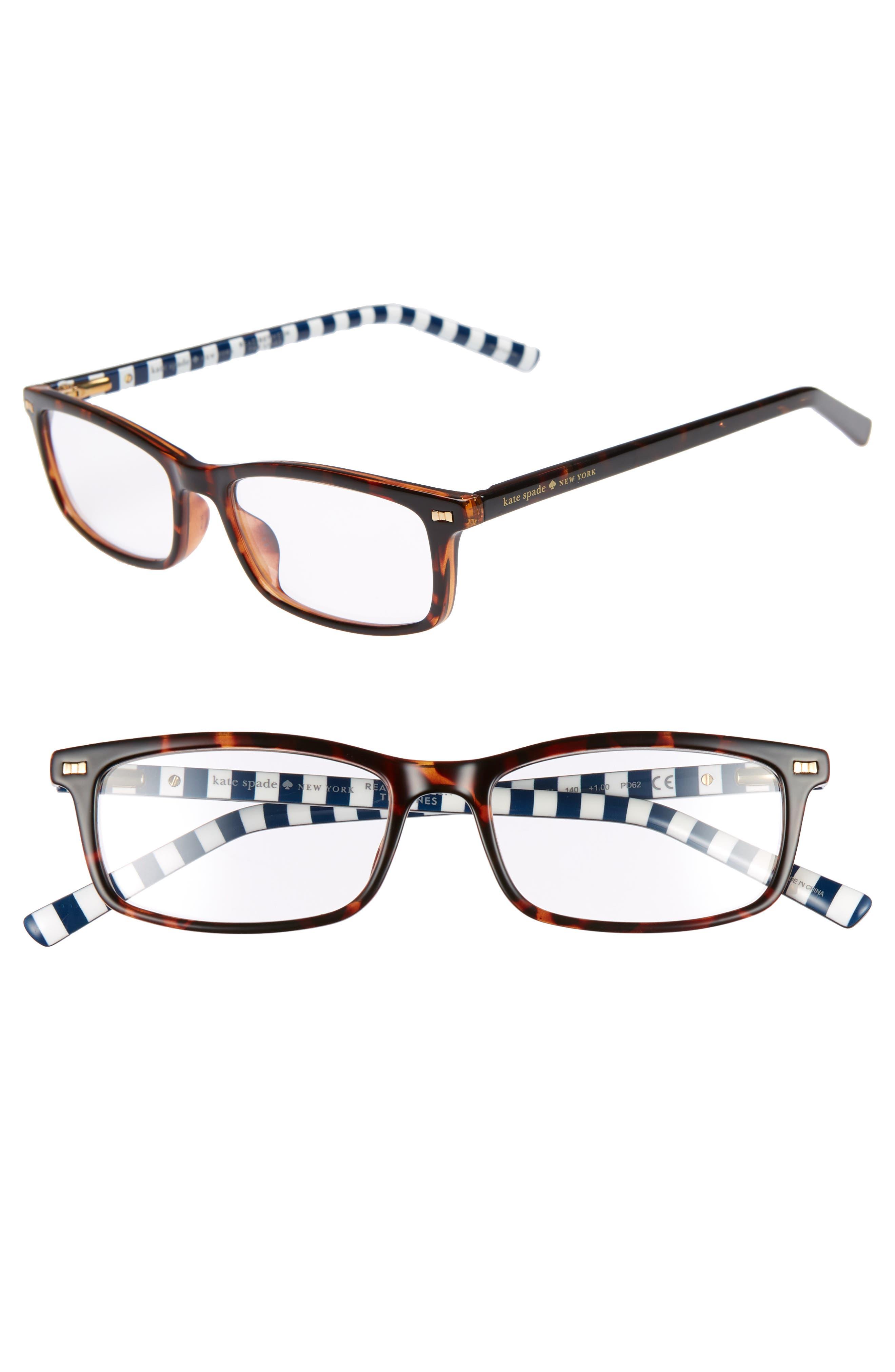 jodie 50mm rectangular reading glasses,                             Main thumbnail 1, color,                             HAVANA PATTERN
