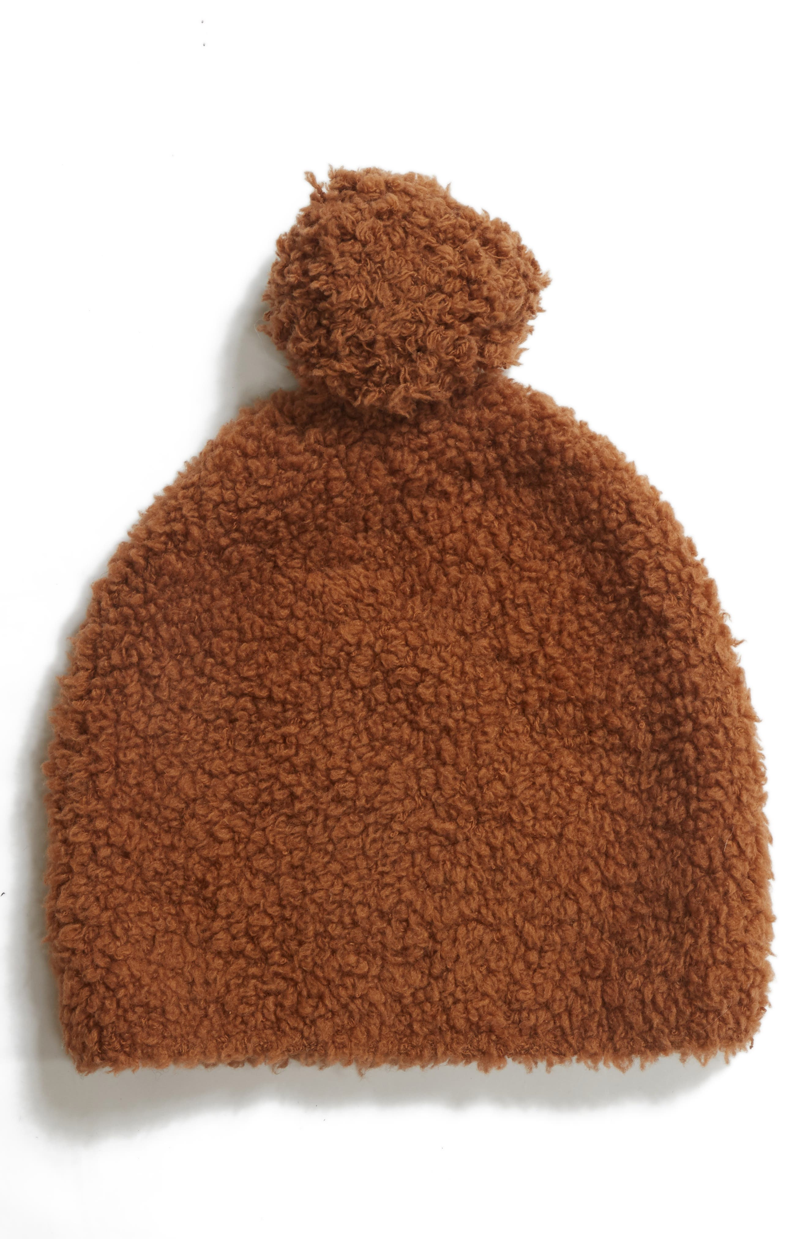 Teddy Wool & Cashmere Blend Pom Beanie,                         Main,                         color, GINGER