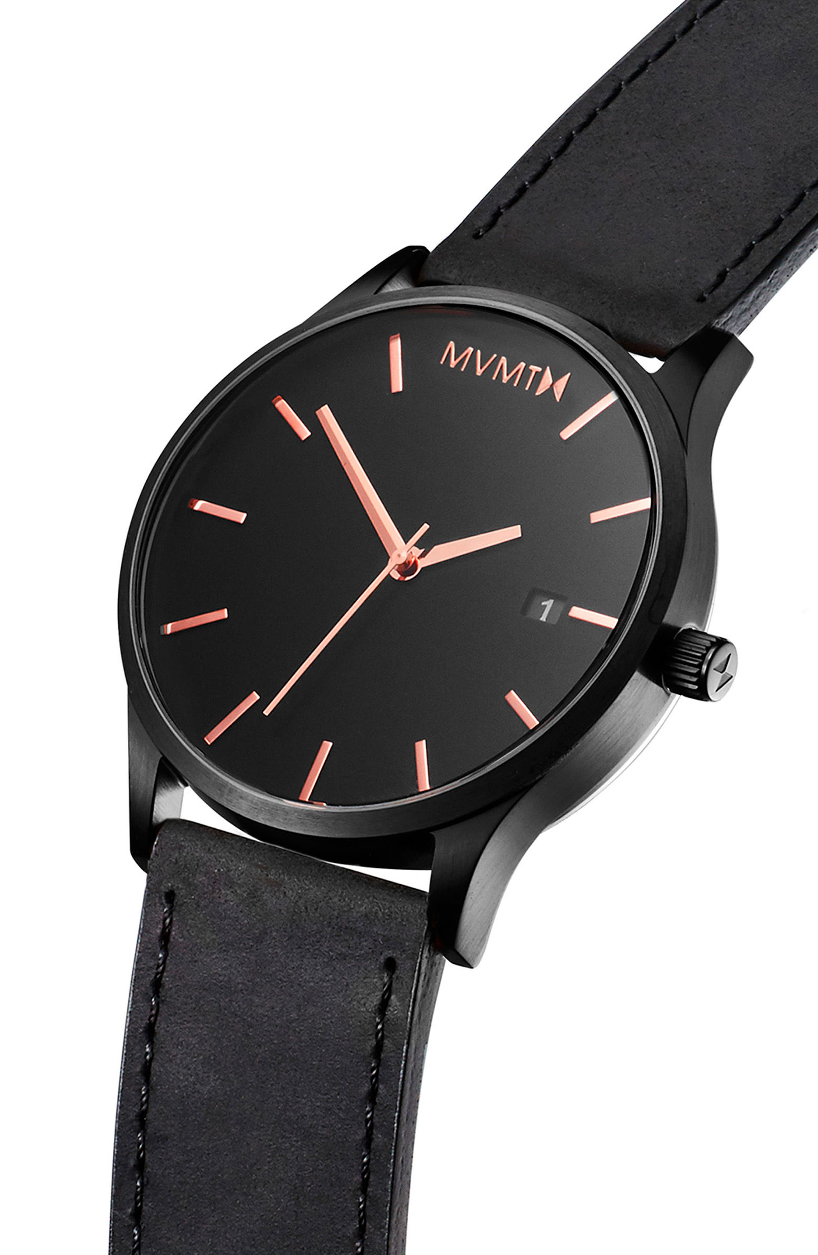 The Classic Leather Strap Watch, 45mm,                             Alternate thumbnail 3, color,                             ALL BLACK/ ROSE GOLD