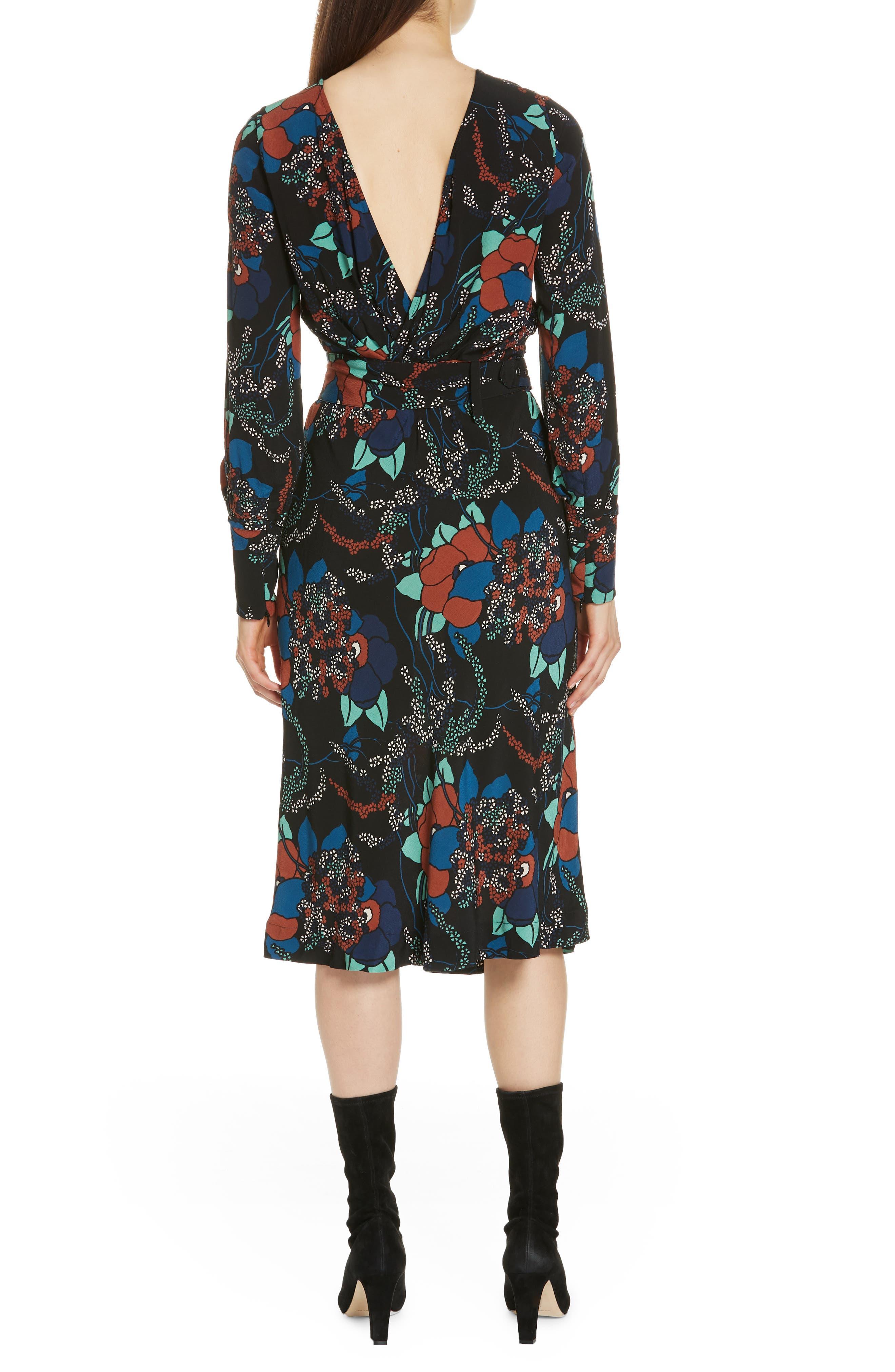 Abelia Floral Plunge Back Silk Dress,                             Alternate thumbnail 2, color,                             NOIR