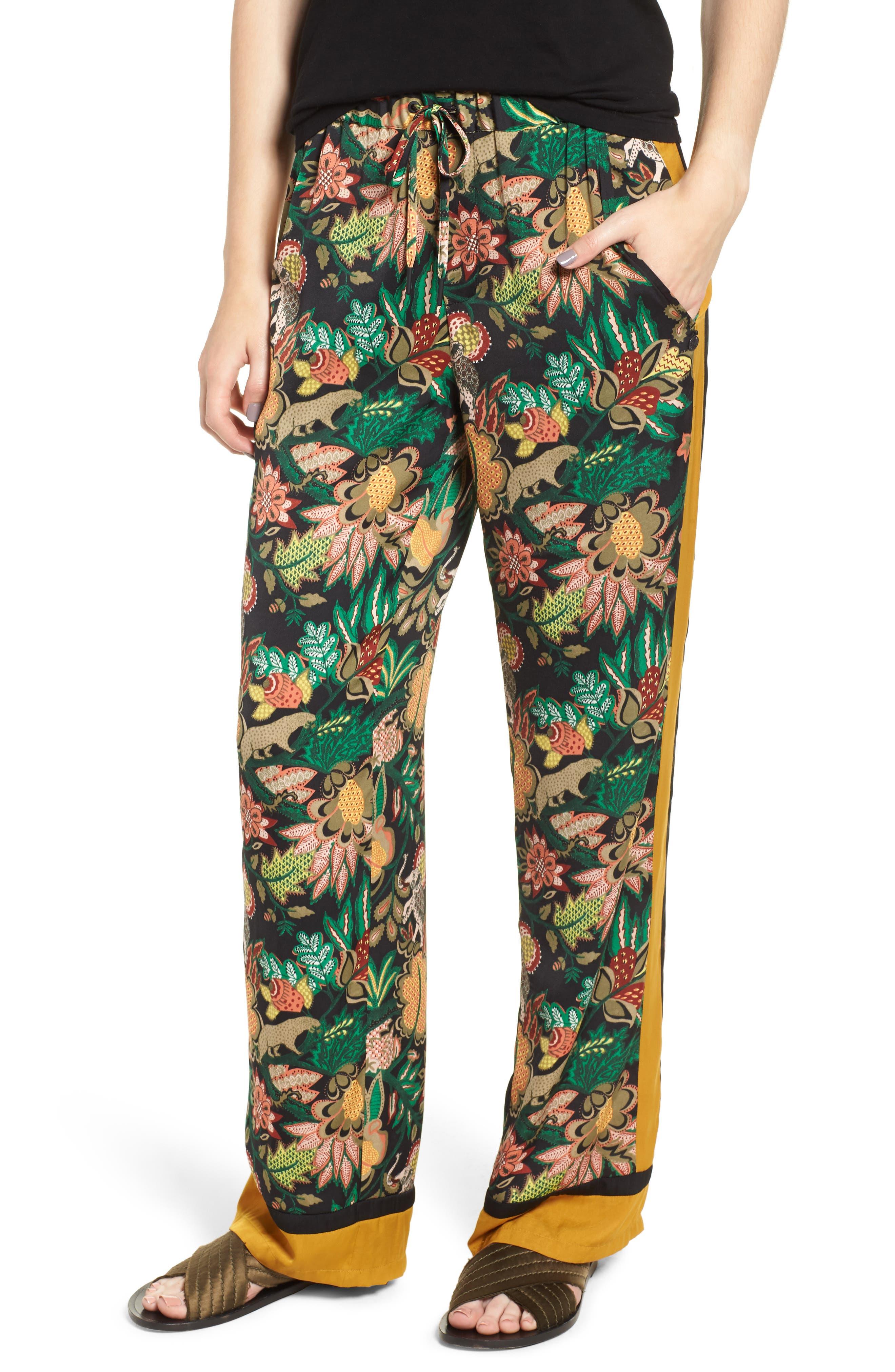 Jungle Print Stripe Wide Leg Pants by Scotch & Soda