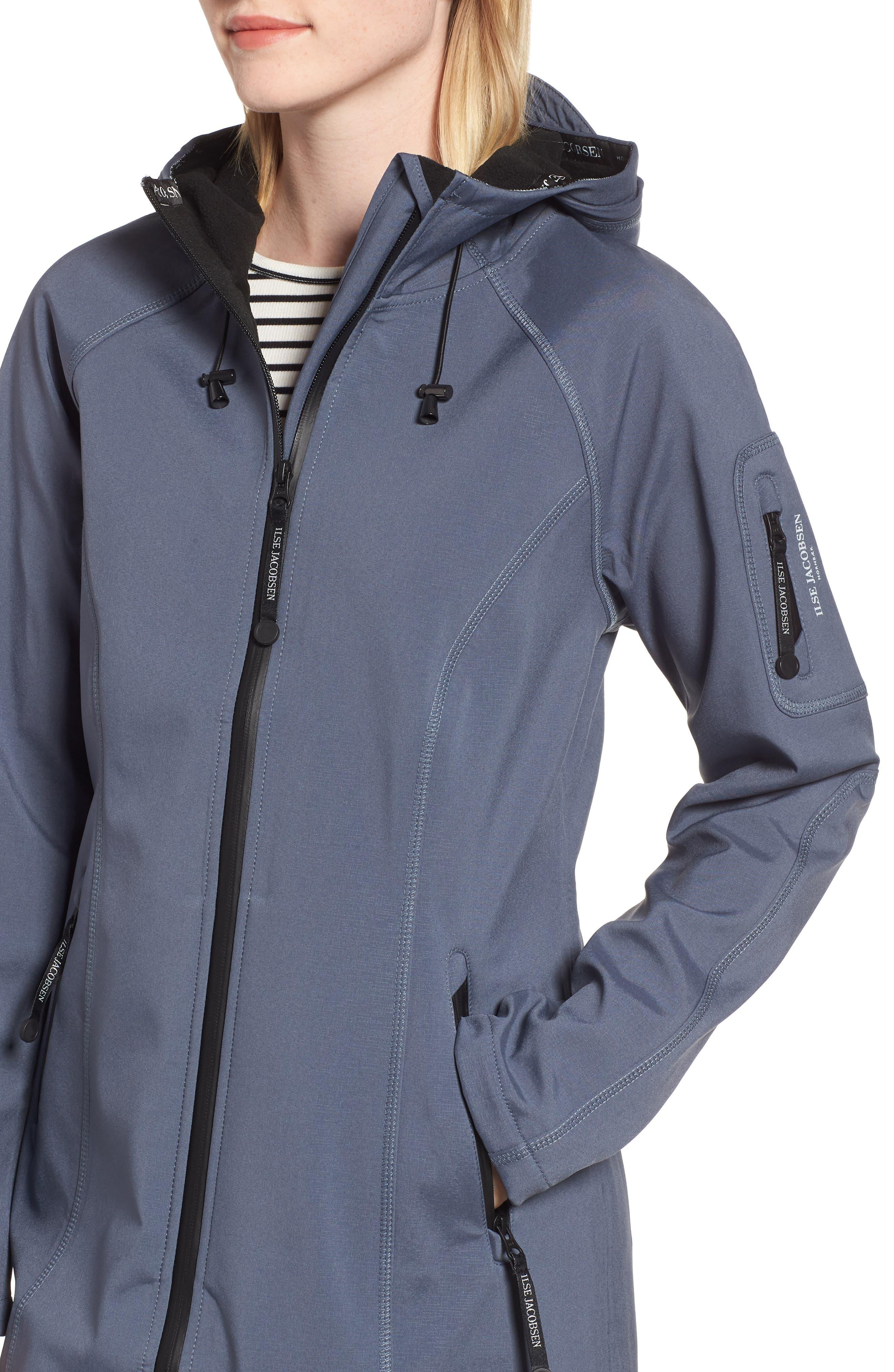 Long Hooded Raincoat,                             Alternate thumbnail 4, color,                             BLUE GRAYNESS