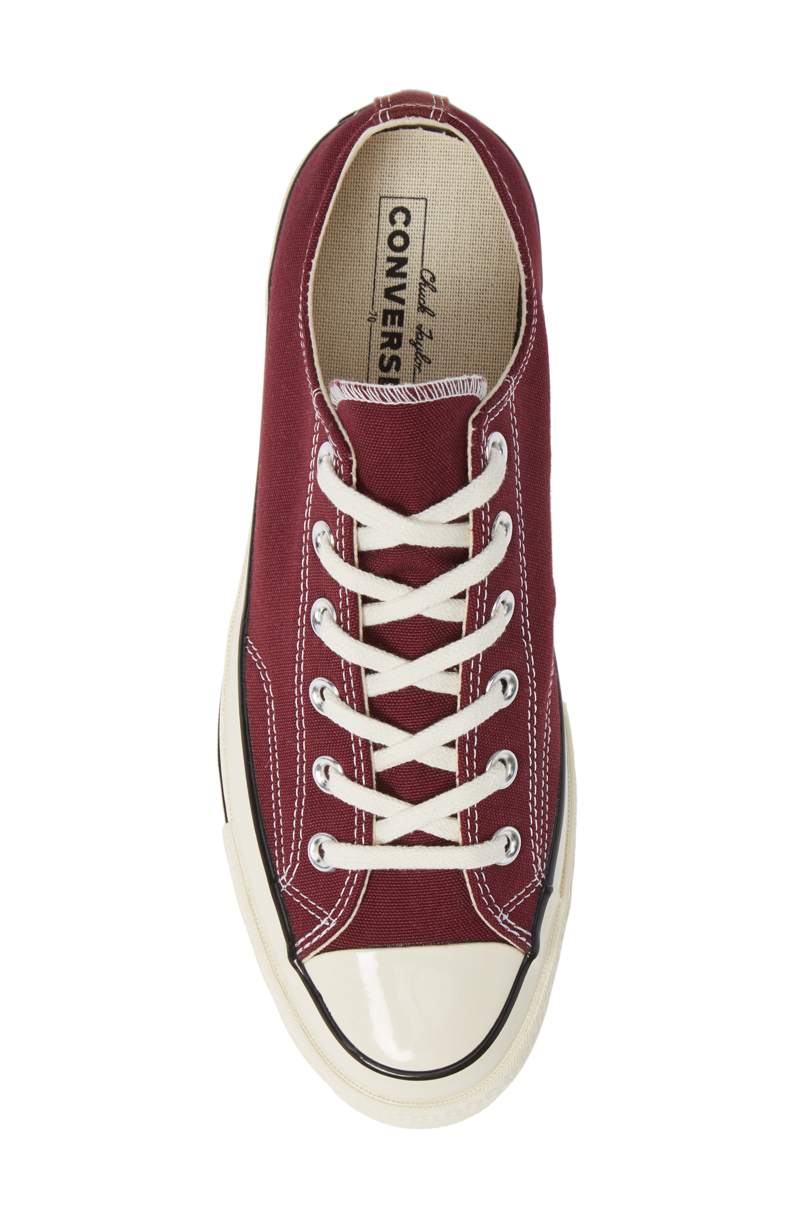 Chuck Taylor<sup>®</sup> All Star<sup>®</sup> 70 Low Top Sneaker,                             Alternate thumbnail 5, color,                             BURGUNDY