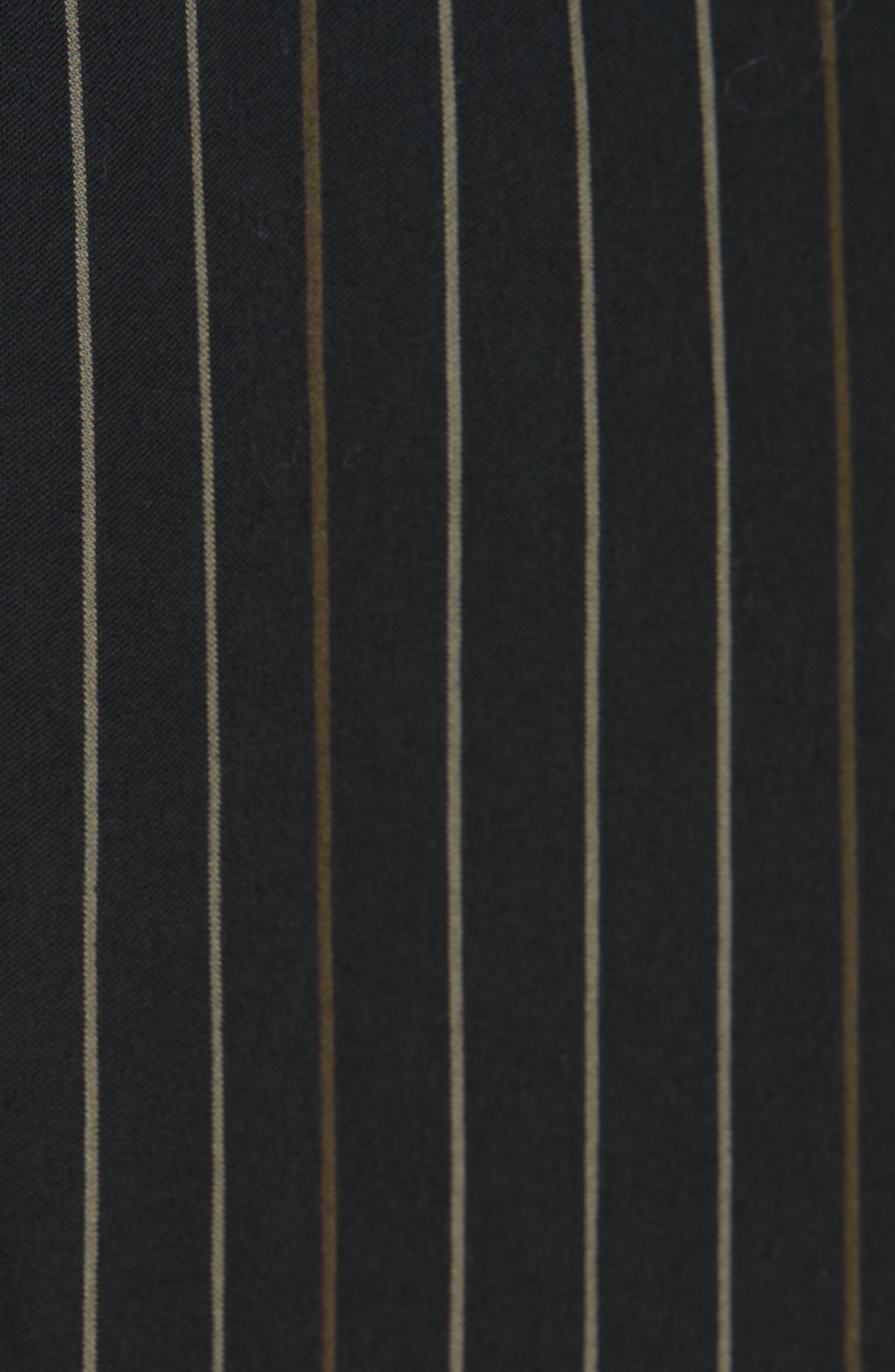 Bar Stripe Paneled Dress,                             Alternate thumbnail 6, color,                             BLACK