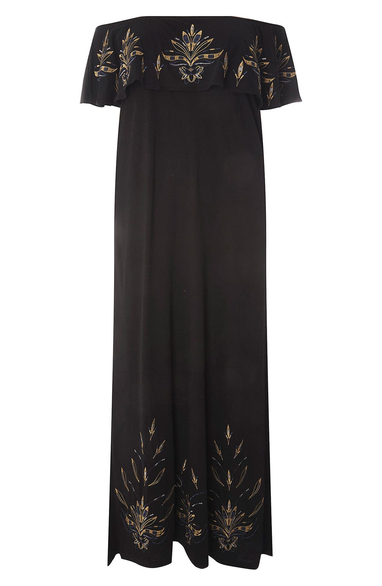 Embroidered Off the Shoulder Maxi Dress,                             Alternate thumbnail 4, color,                             001
