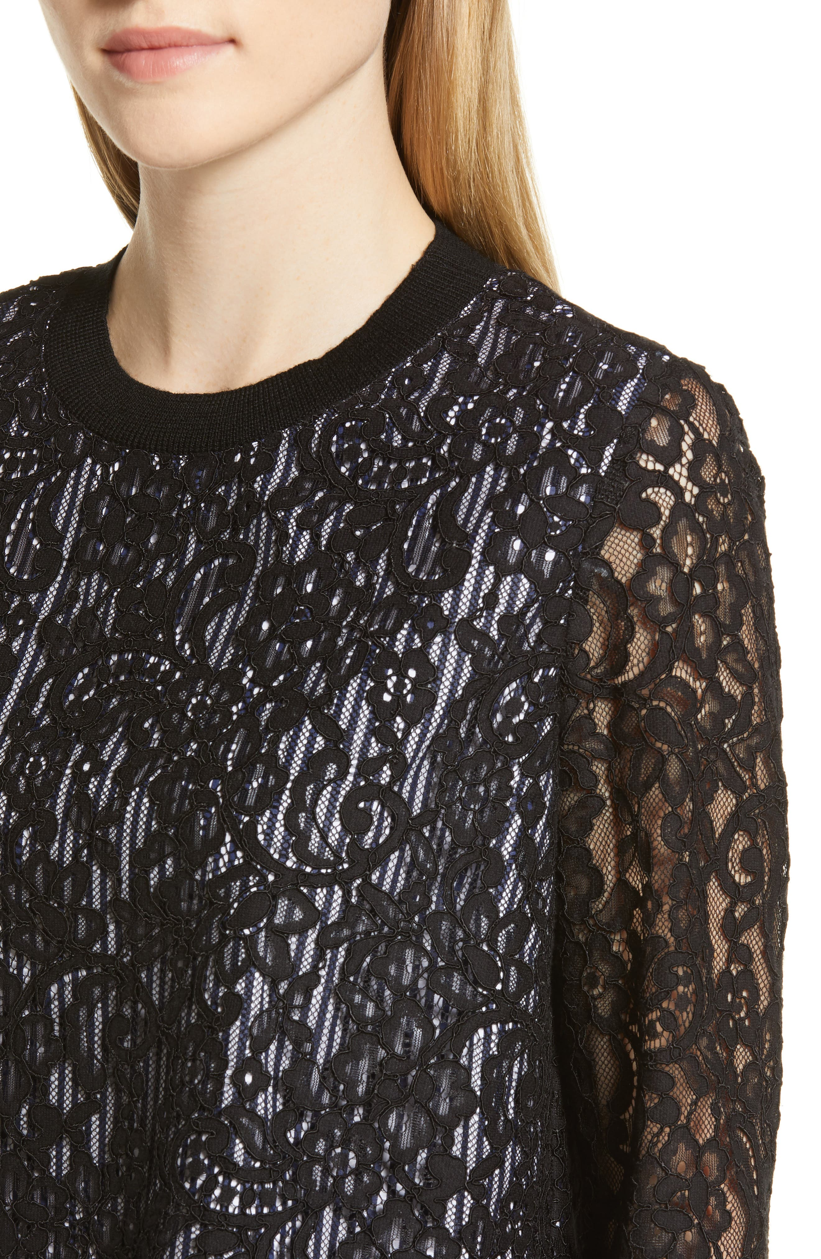 Solstice Stripe Lace Blouse,                             Alternate thumbnail 4, color,                             JET BLACK